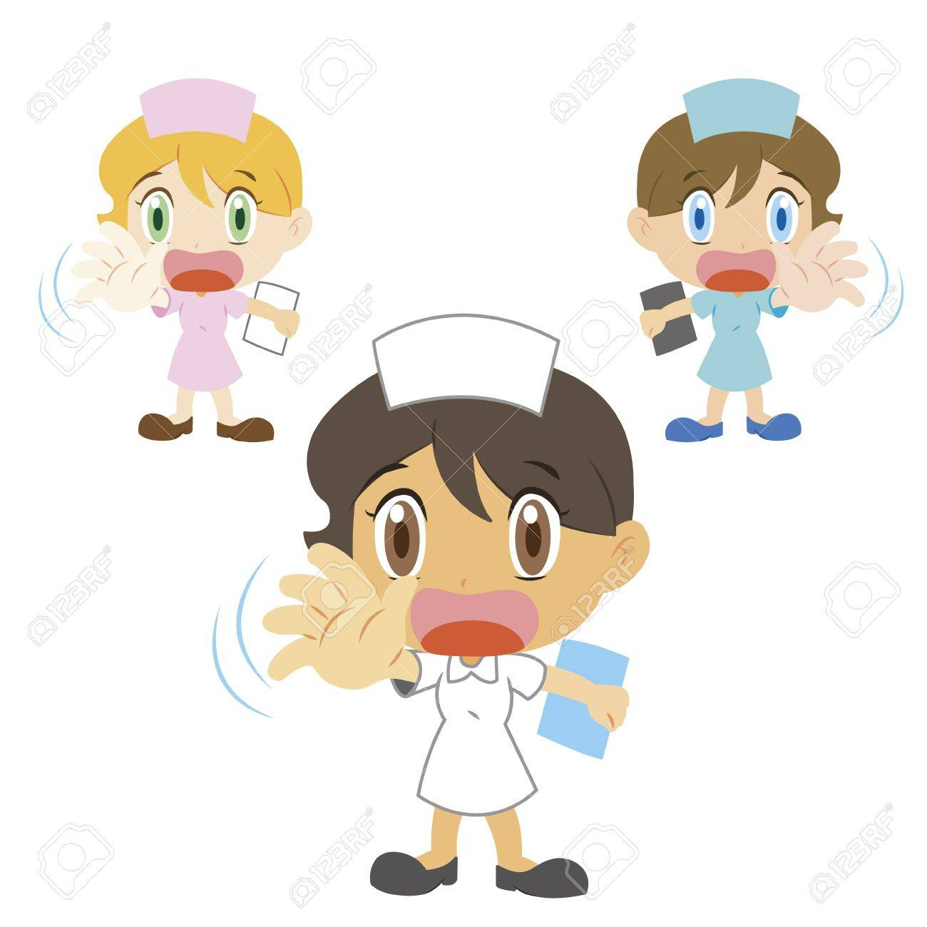 nurse with a denial of action, three colors Stock Vector - 17362205