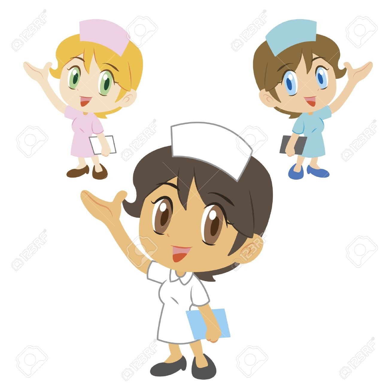 commentary by a cute nurse, three colors Stock Vector - 17362179