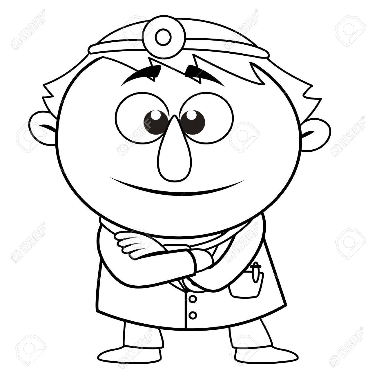 black and white coloring page outline of a doctor vector royalty