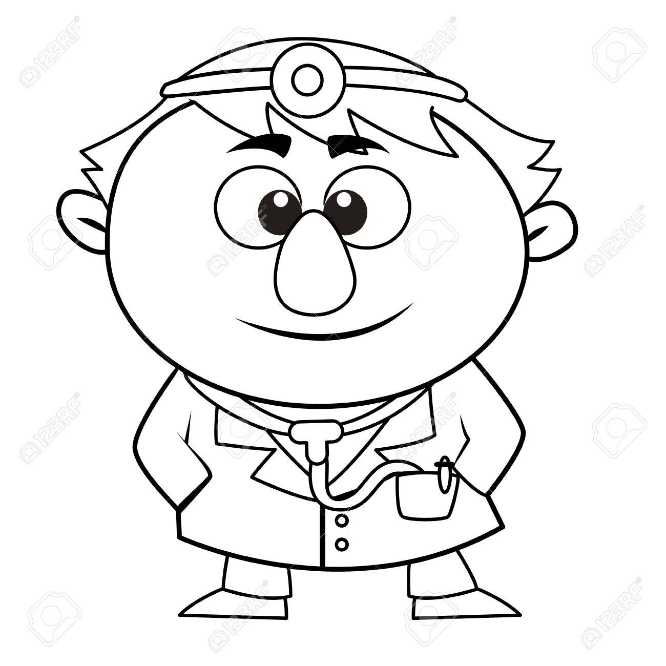 black and white coloring page outline of a doctor royalty free