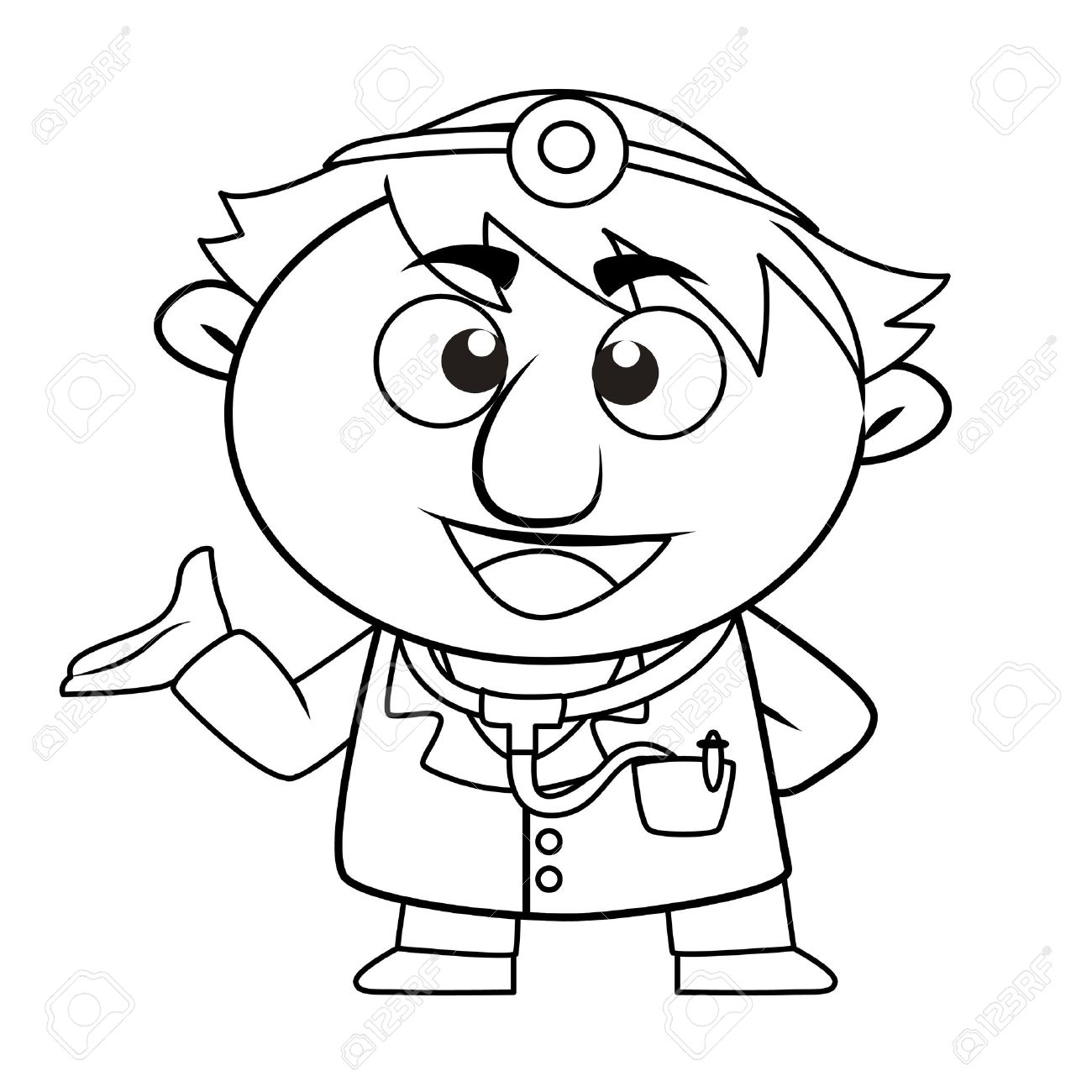 black and white coloring page outline of a doctor royalty free rh 123rf com Dentist Clip Art Black and White doctor black and white clipart