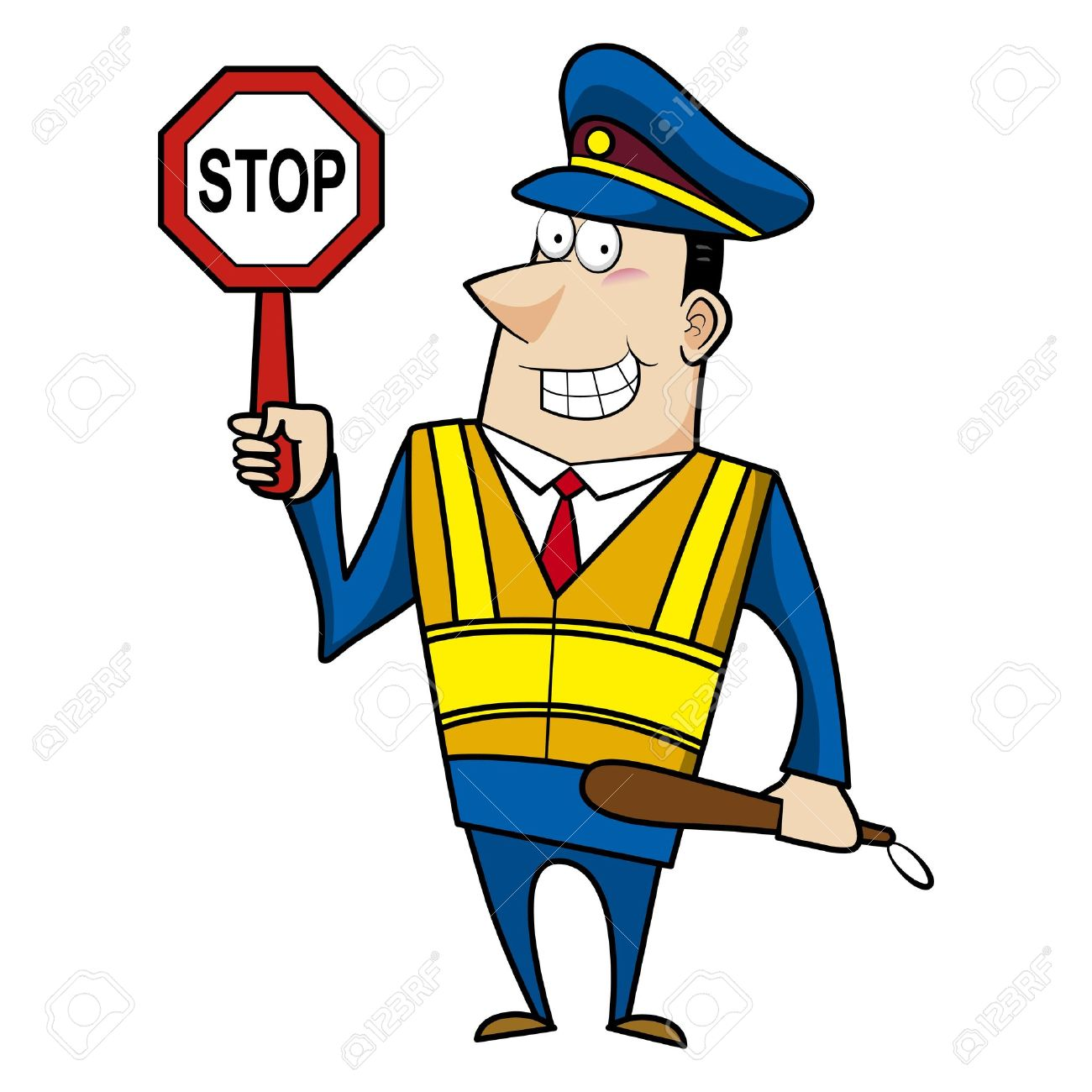 male cartoon police officer holding a stop sign royalty free rh 123rf com