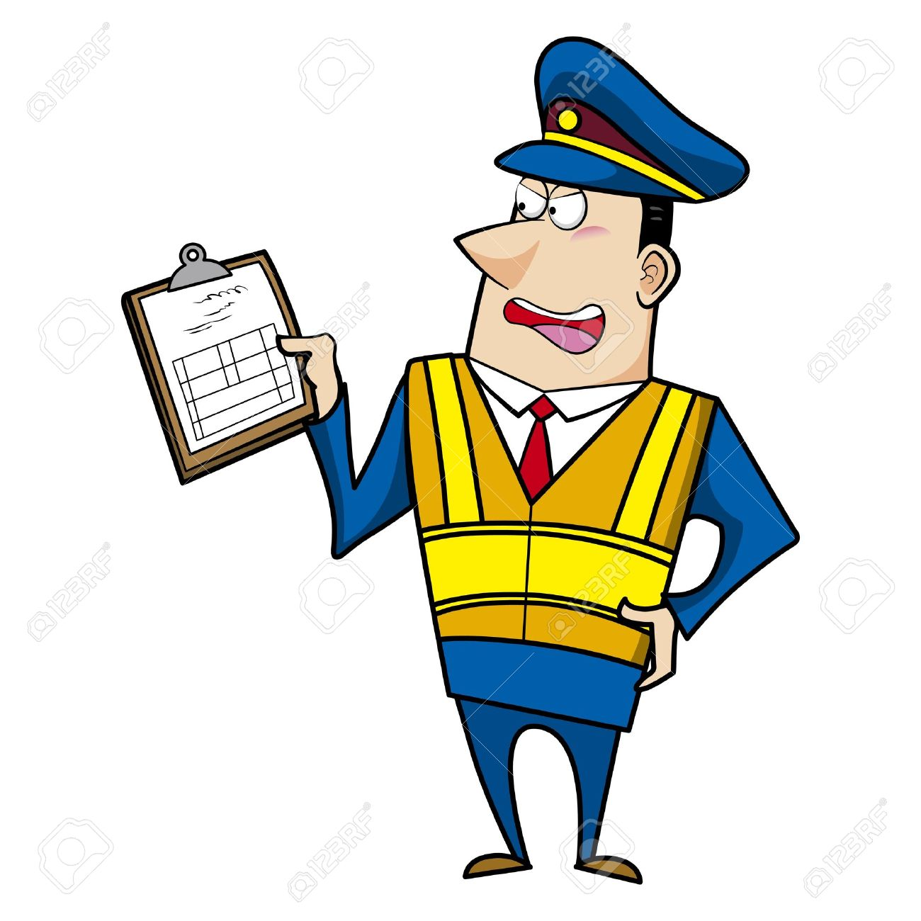 Male Cartoon Police Officer Holding A Ticket Royalty Free Cliparts ...