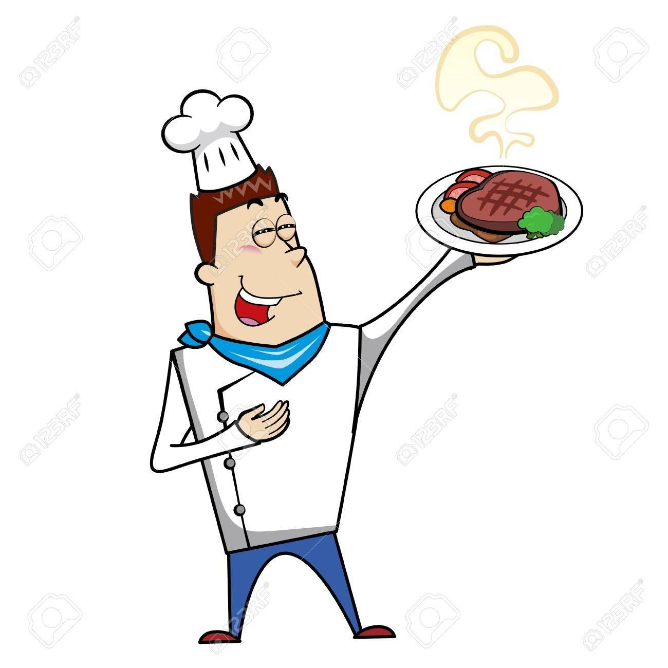 cartoon chef with steak dinner vector illustration royalty free rh 123rf com