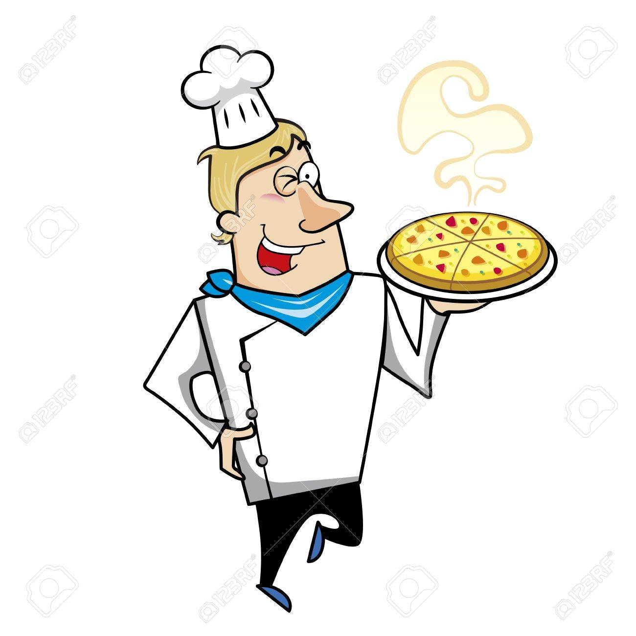 Cartoon chef with pizza vector illustration. Stock Vector - 18261497