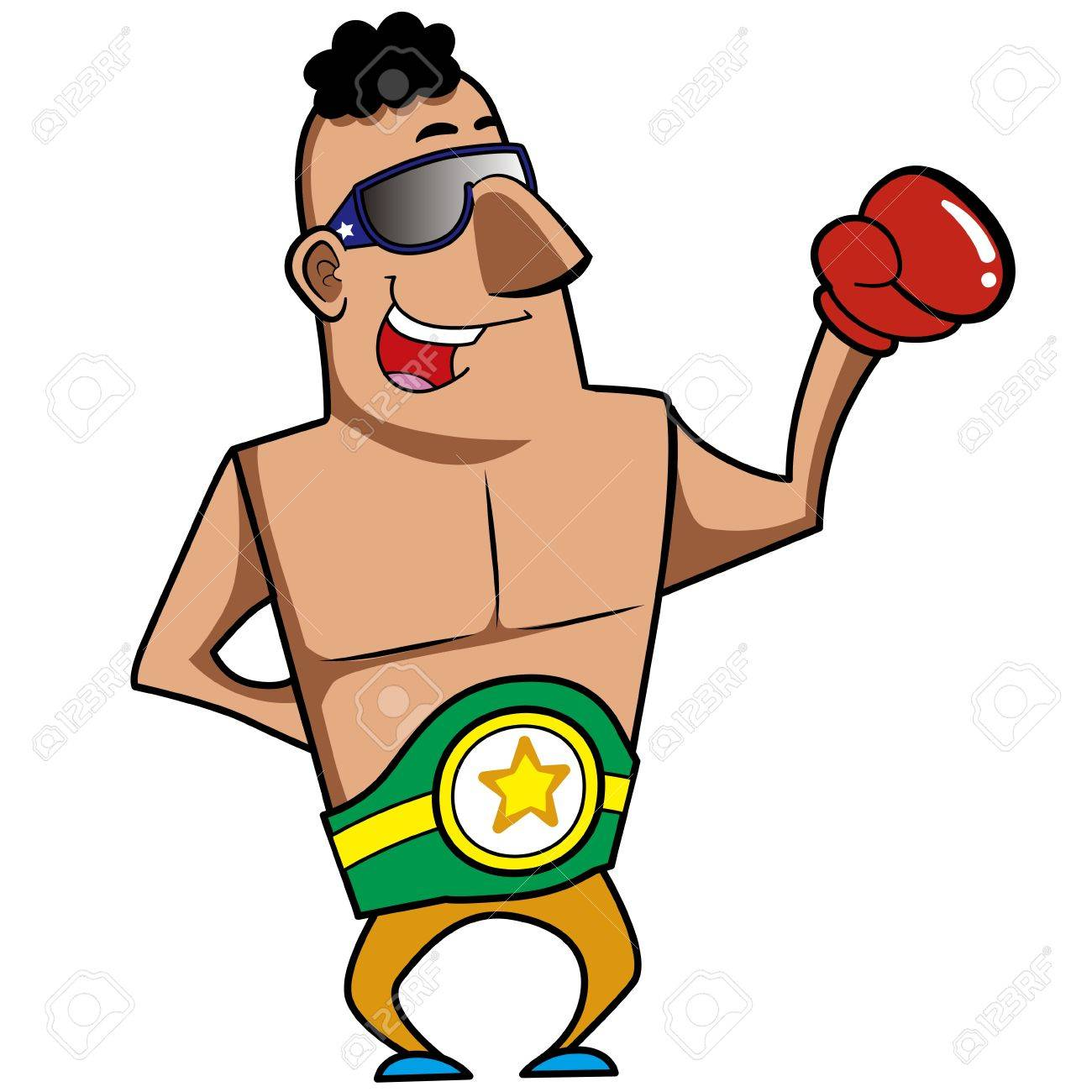Cartoon boxer with boxing gloves vector illustration Stock Vector - 18376442