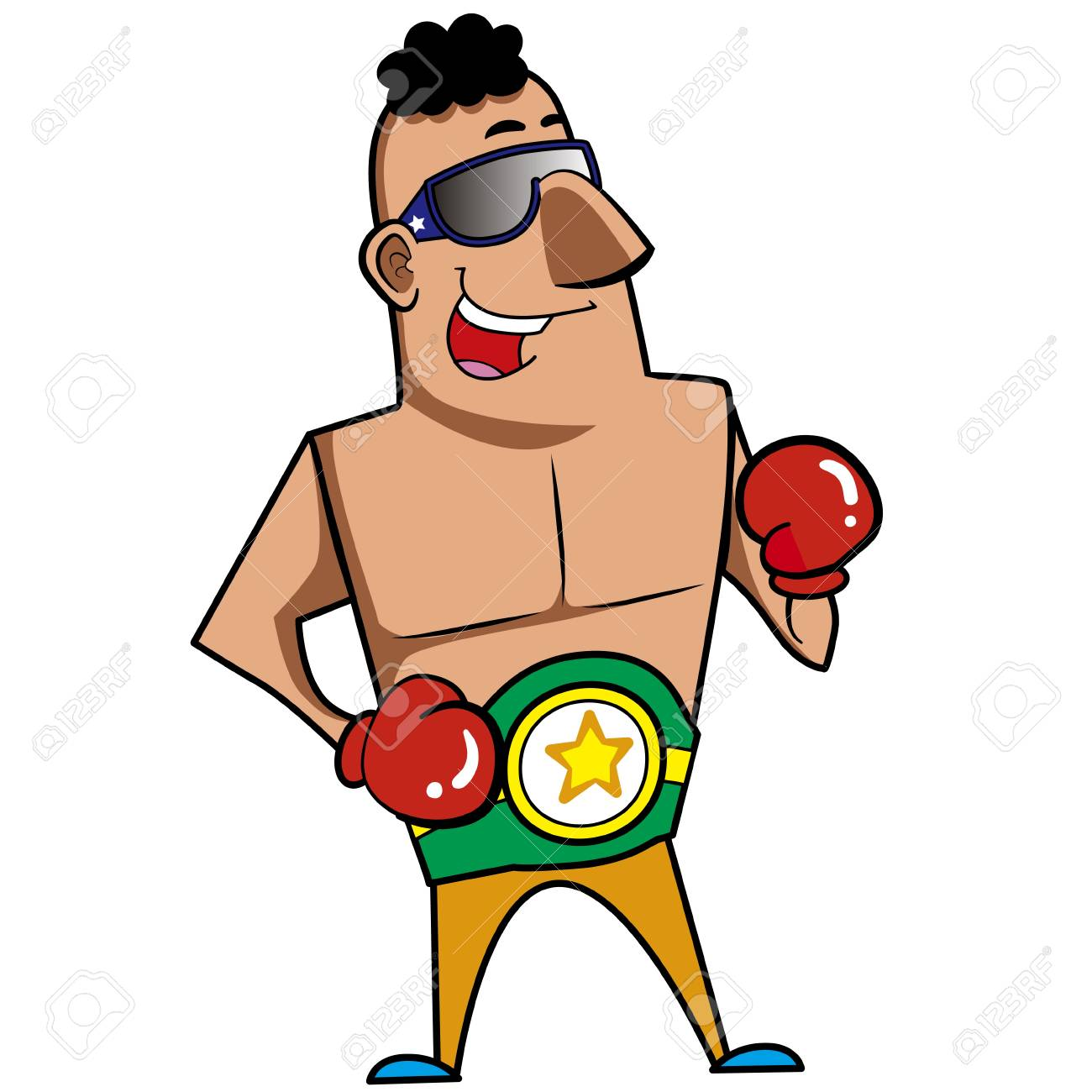 Cartoon boxer with boxing gloves vector illustration Stock Vector - 18376546