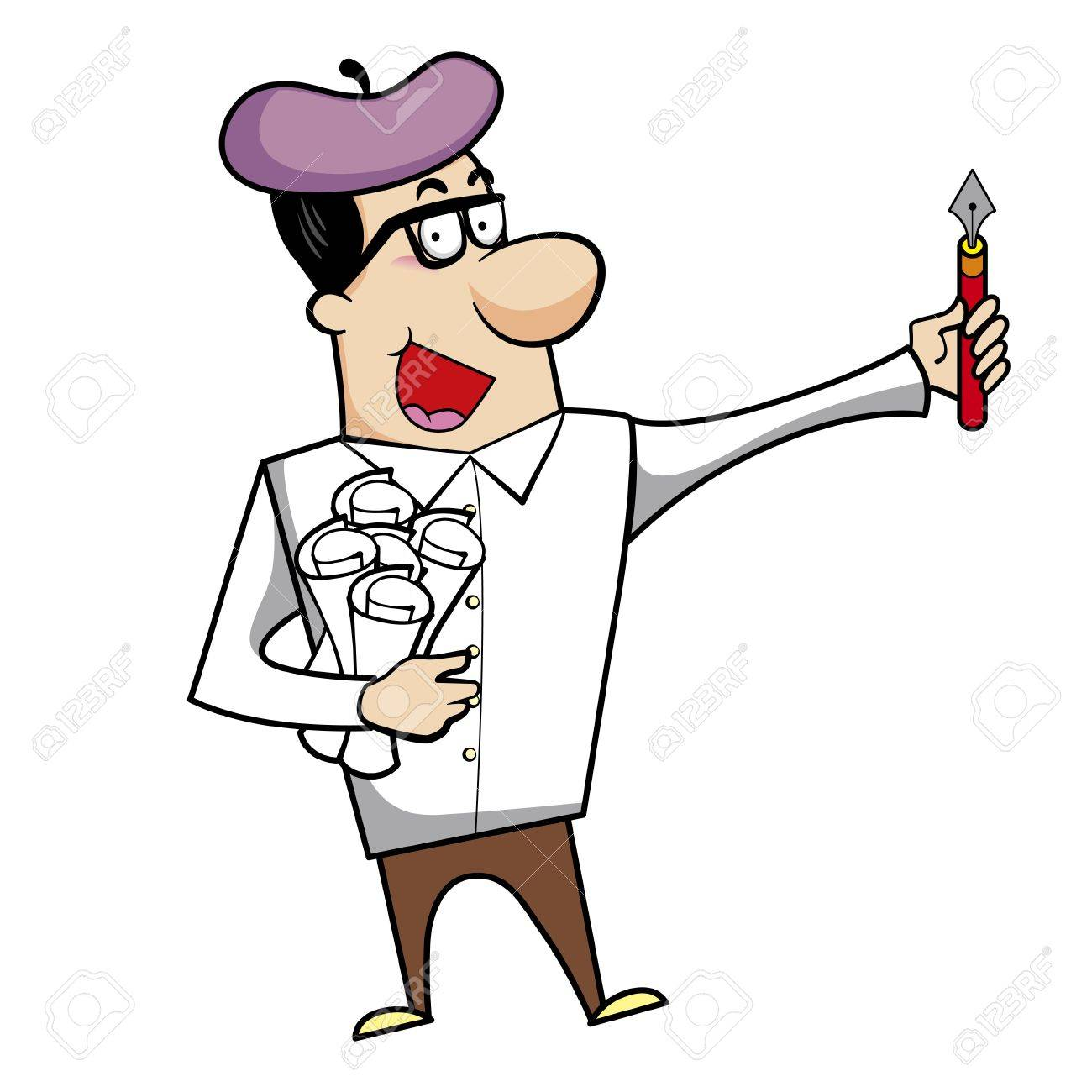 Cartoon artist with pen and paper vector illustration. Stock Vector - 18376575