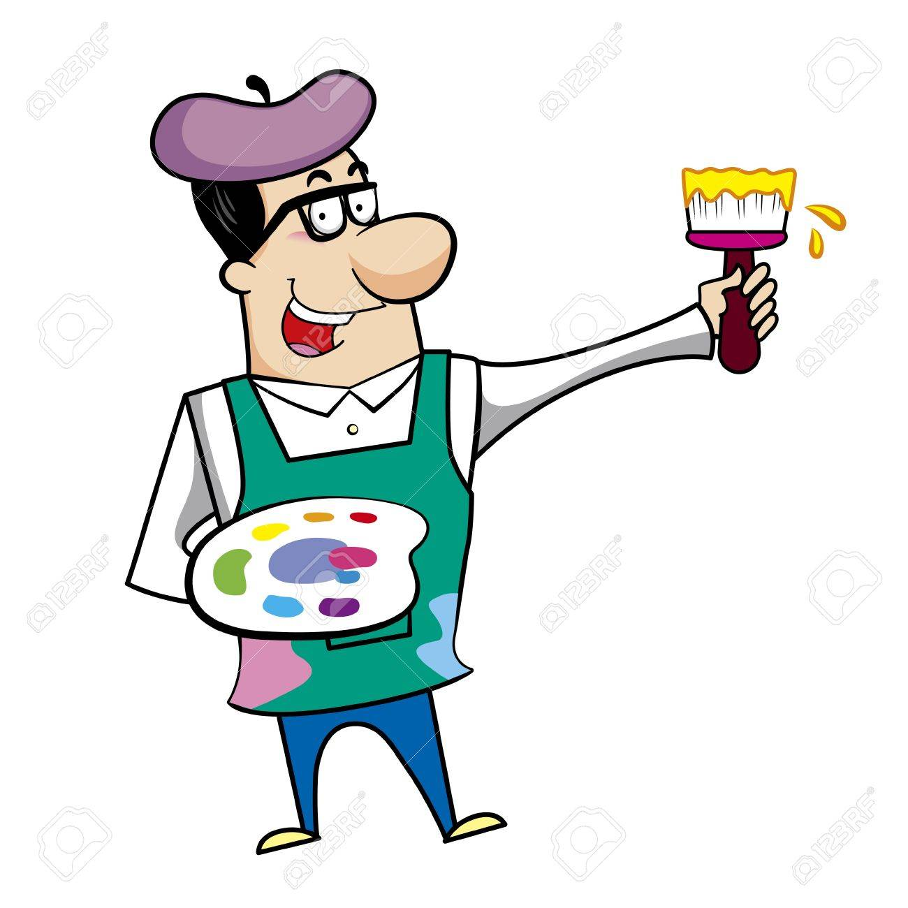 Cartoon artist with paintbrush and paint palette vector illustration. Stock Vector - 18376534