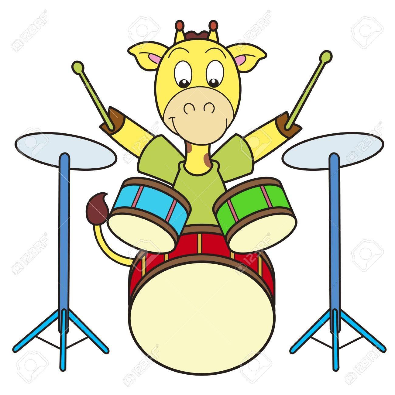 Cartoon giraffe playing drums Stock Vector - 18376428