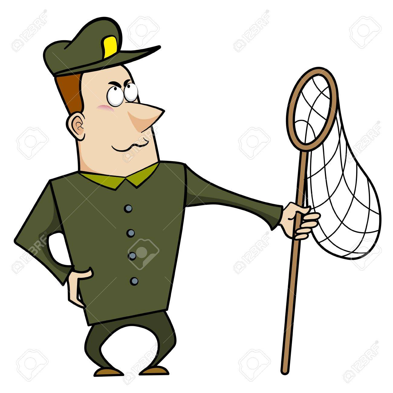 Cartoon animal control officer holding a net for catching animals Stock Vector - 18404636