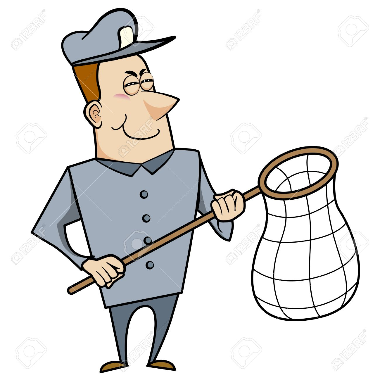 Cartoon animal control officer holding a net for catching animals Stock Vector - 18404650