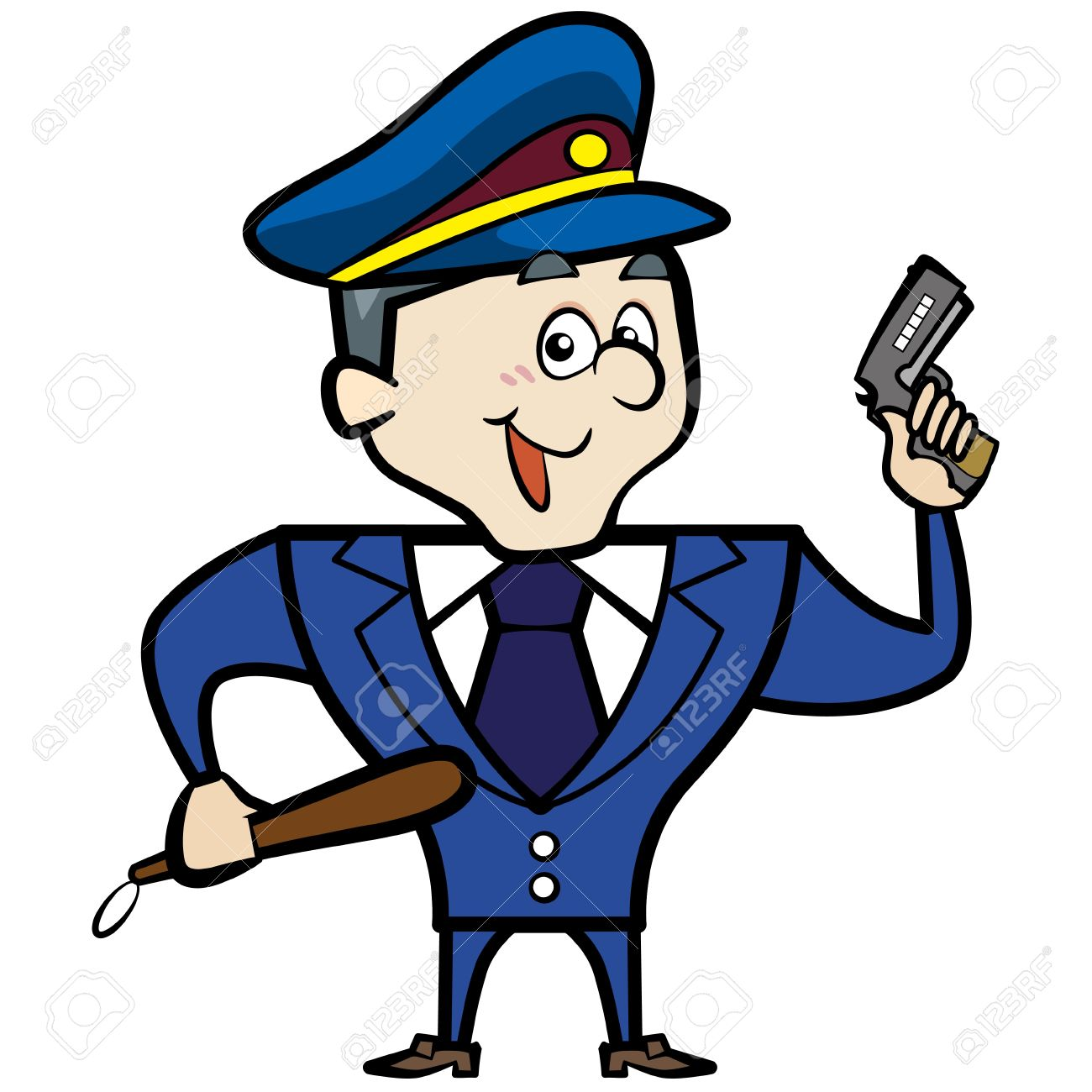 Cartoon Police Officer Man With Gun Royalty Free Cliparts, Vectors ...