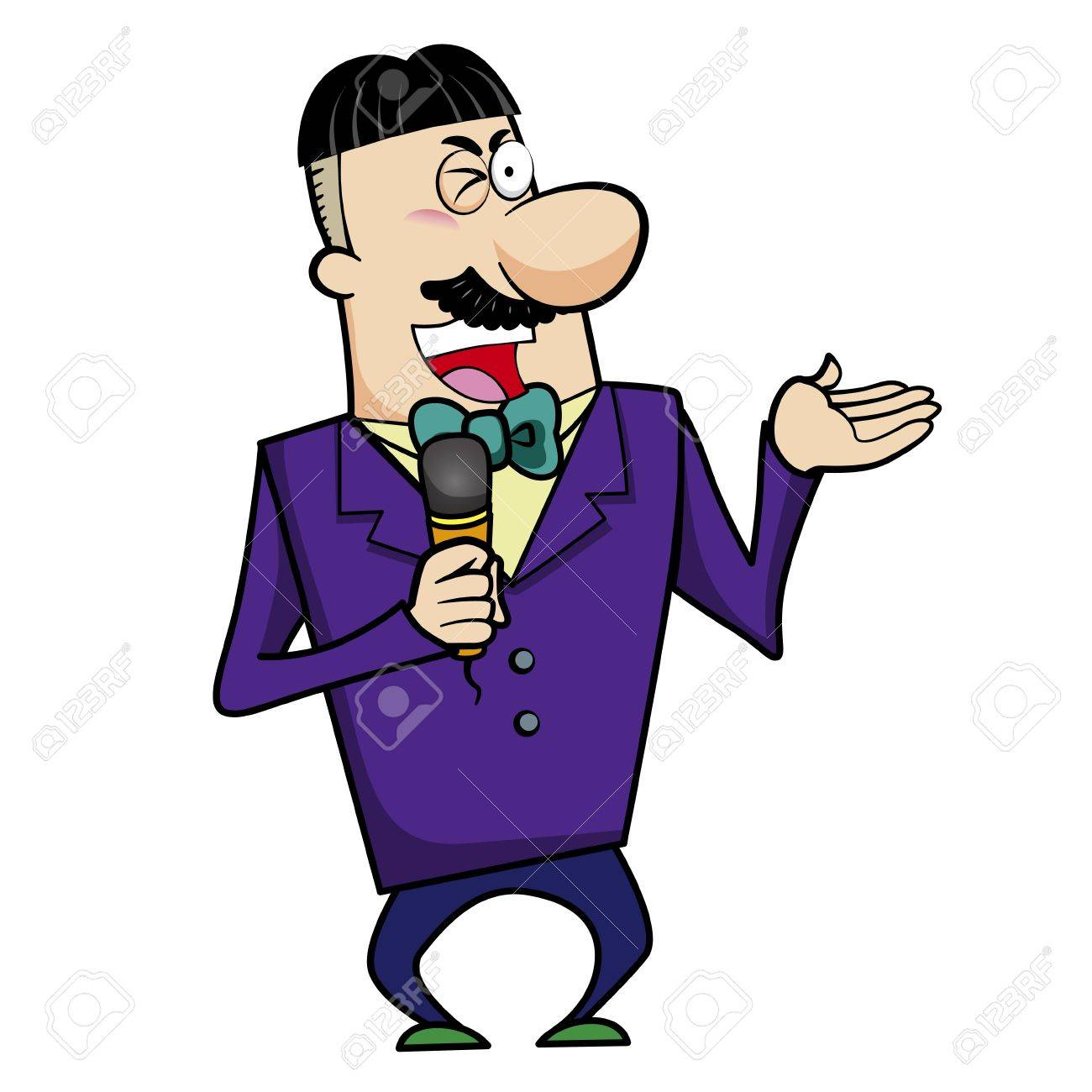 Vector illustration of a television host or event emcee holding a microphone Stock Vector - 18437000