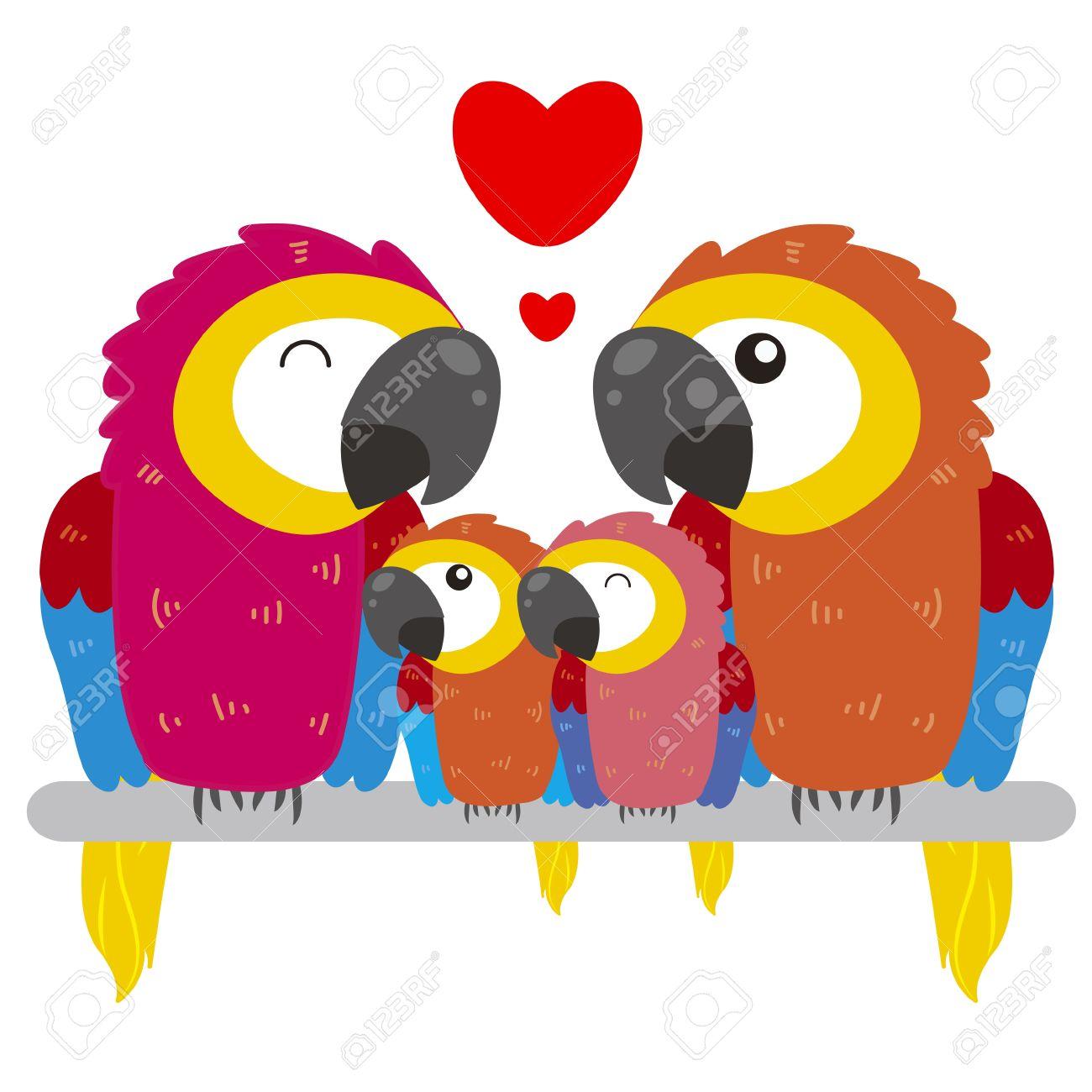 cute cartoon parrot family Stock Vector - 18526667