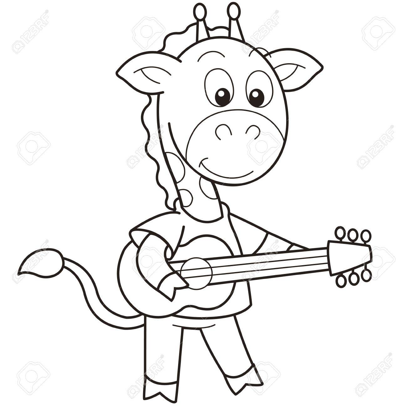 Cartoon Giraffe Playing A Guitar Black And White Royalty Free Cliparts Vectors And Stock Illustration Image 18526629