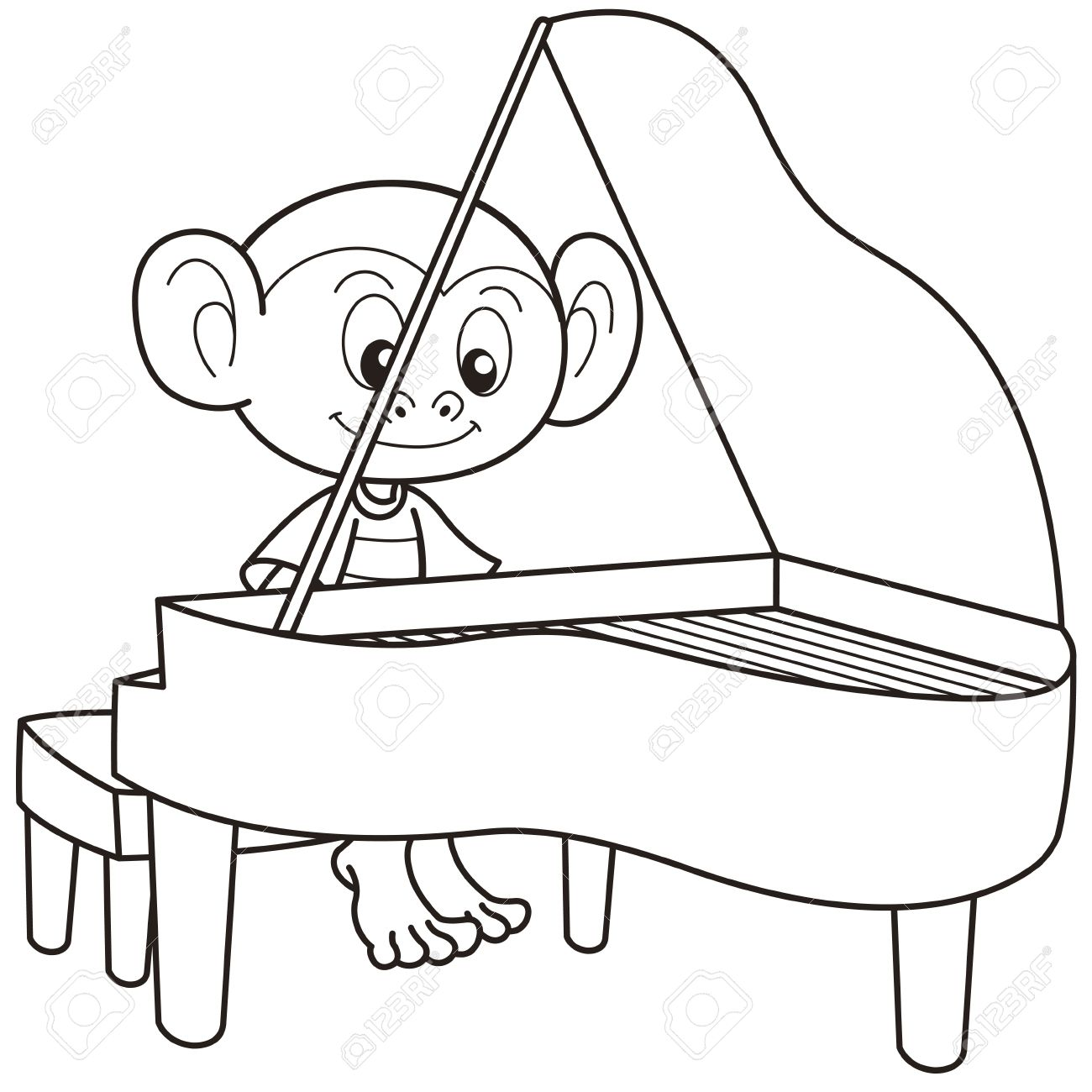 Cartoon Monkey Playing A Piano Black And White Stock Vector