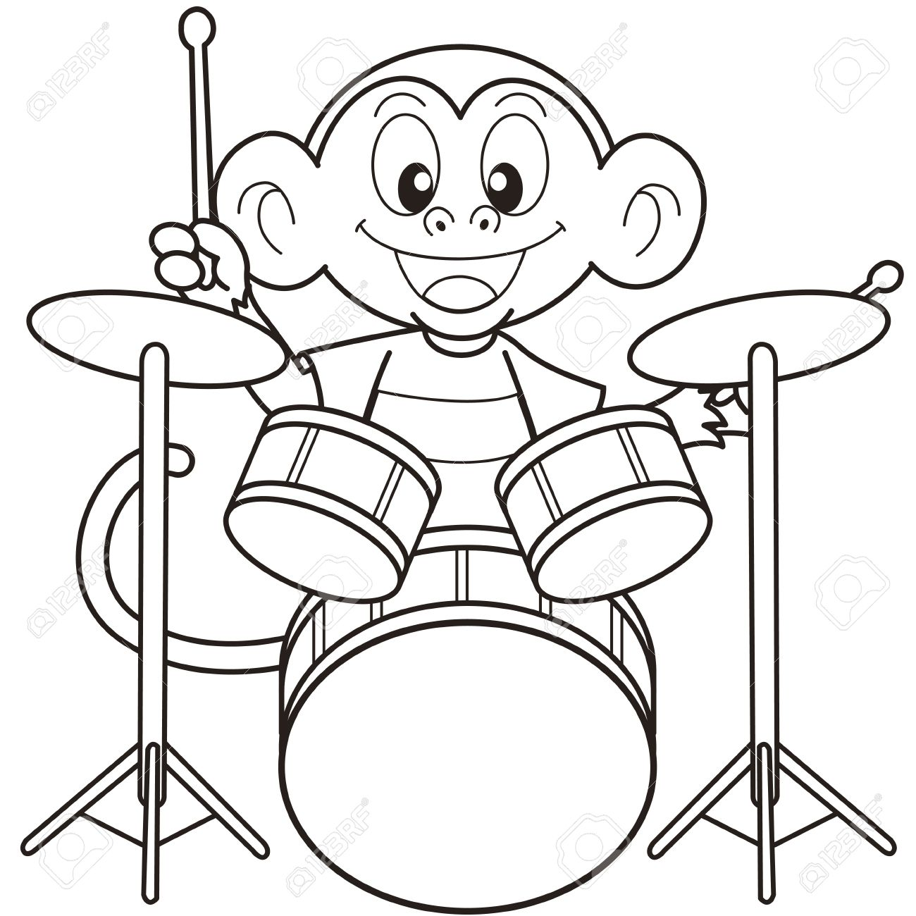 music monkey cartoon monkey playing drums black and white illustration
