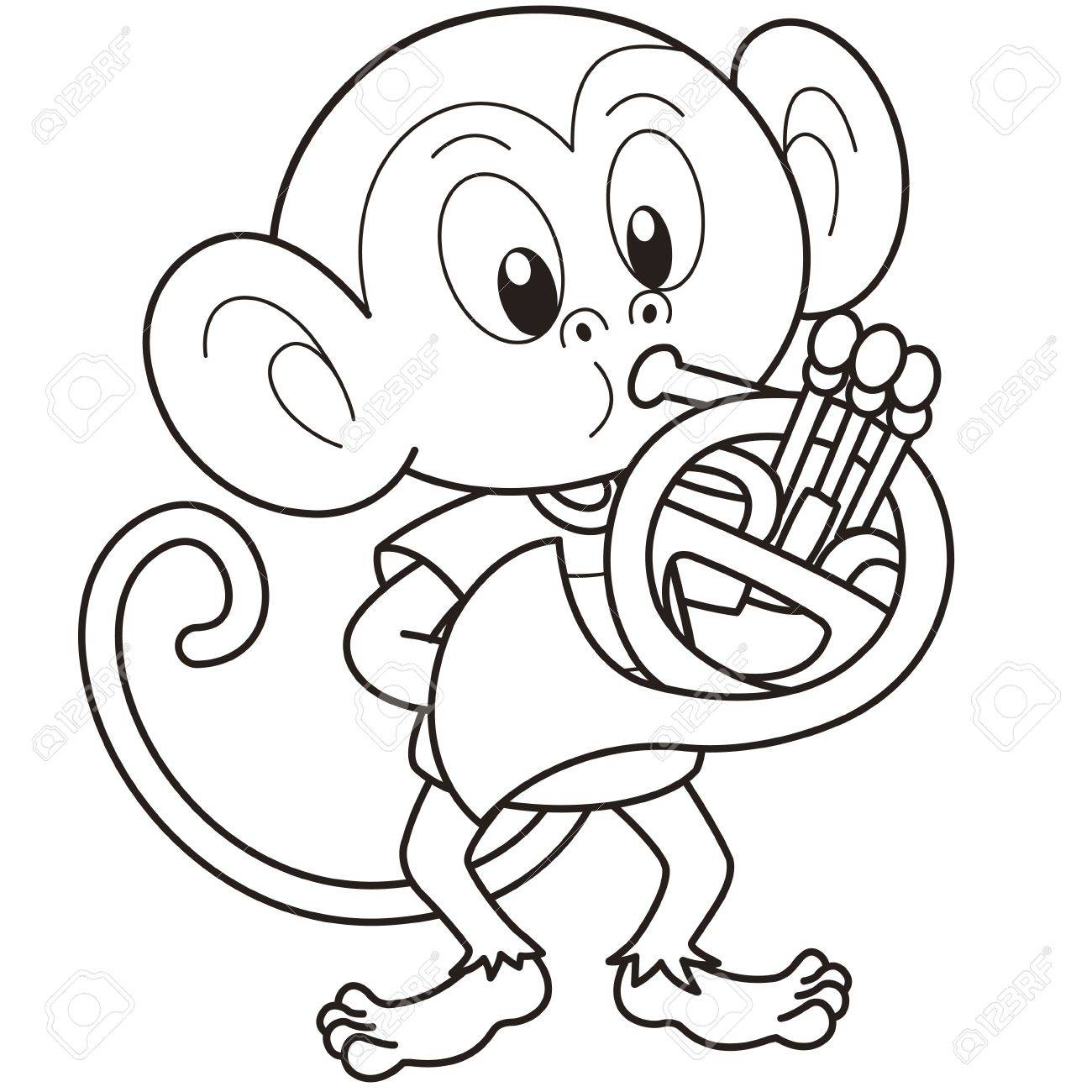 Cartoon Monkey Playing A French Horn Black And White Stock Vector