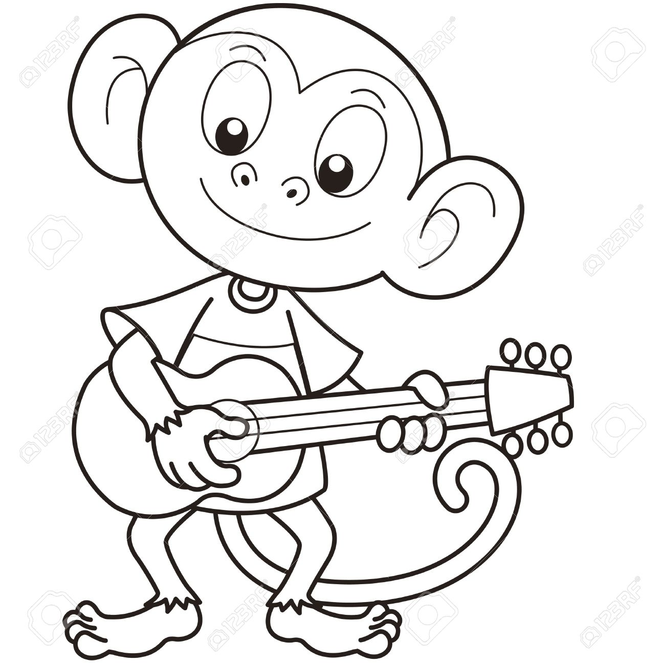 Cartoon Monkey Playing A Guitar Black And White Stock Vector
