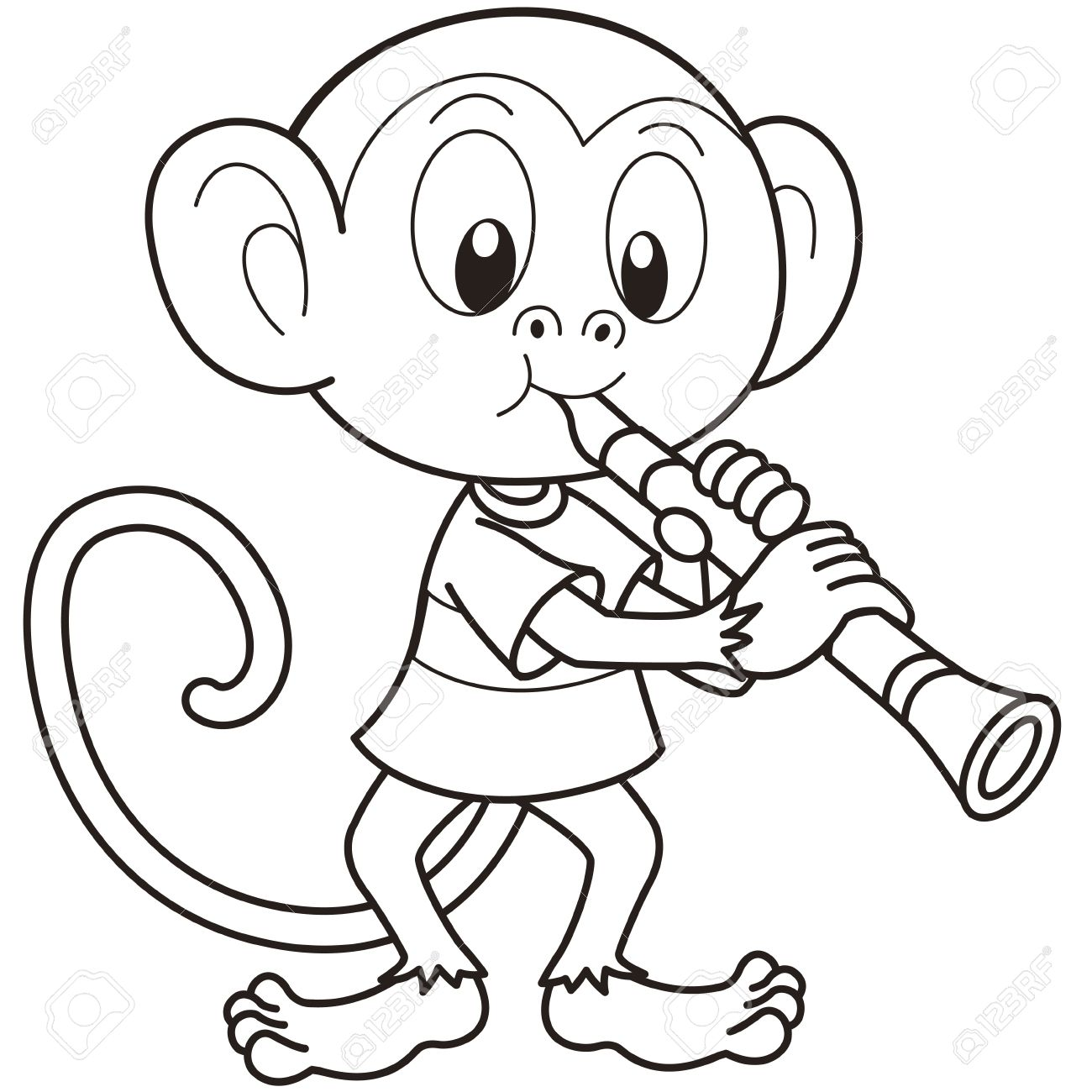 cartoon monkey playing a clarinet black and white royalty free