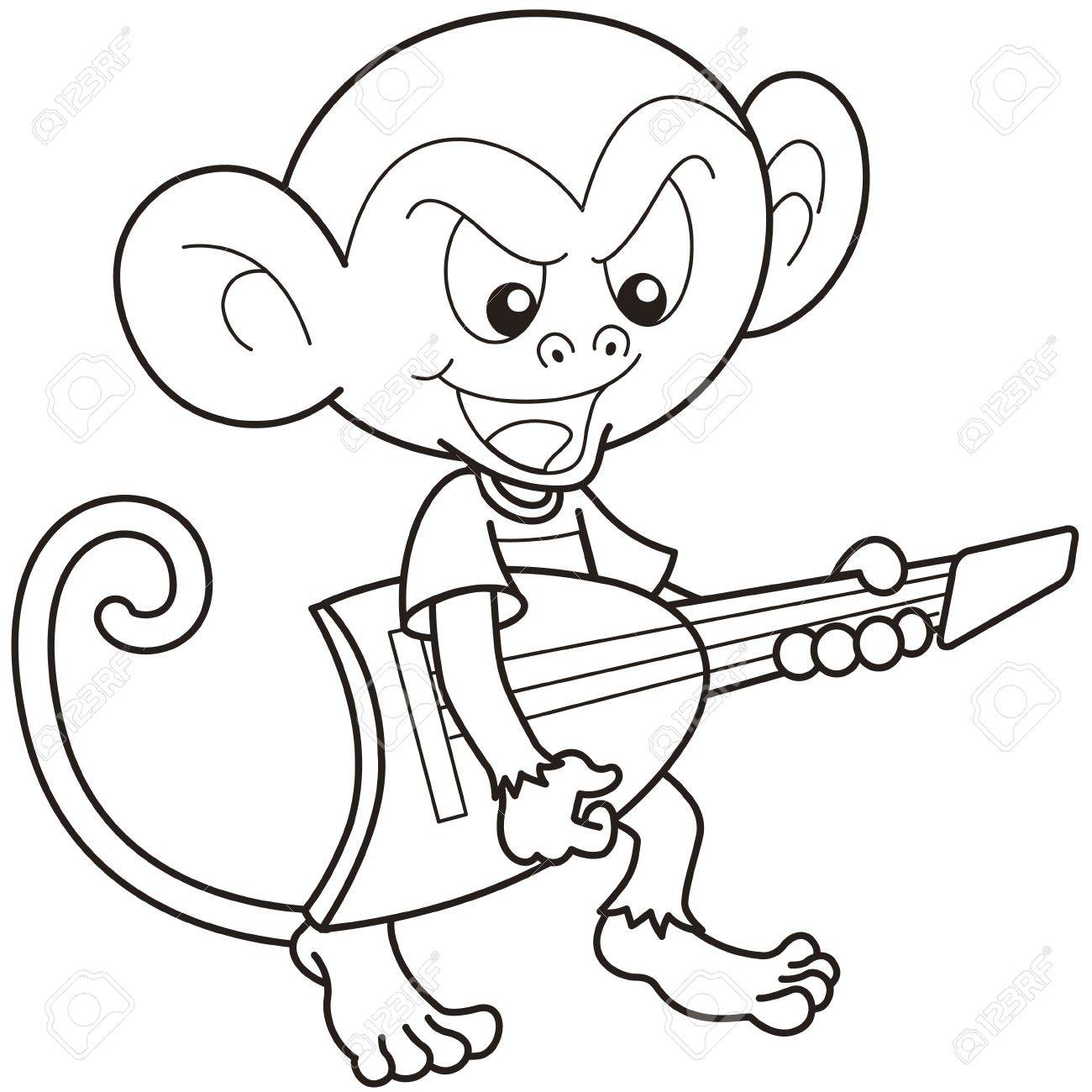 Cartoon Monkey Playing An Electric Guitar Black And White Stock Vector