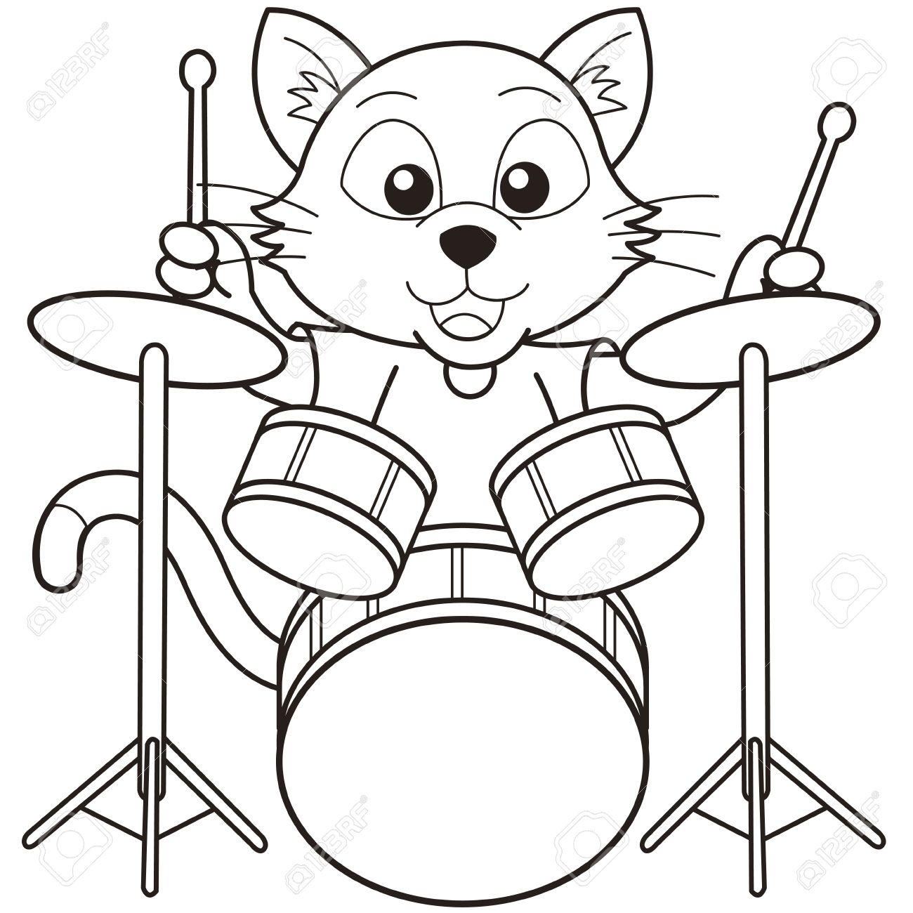 Coloring pictures drums - Cartoon Cat Playing Drums Black And White Stock Vector 18526815