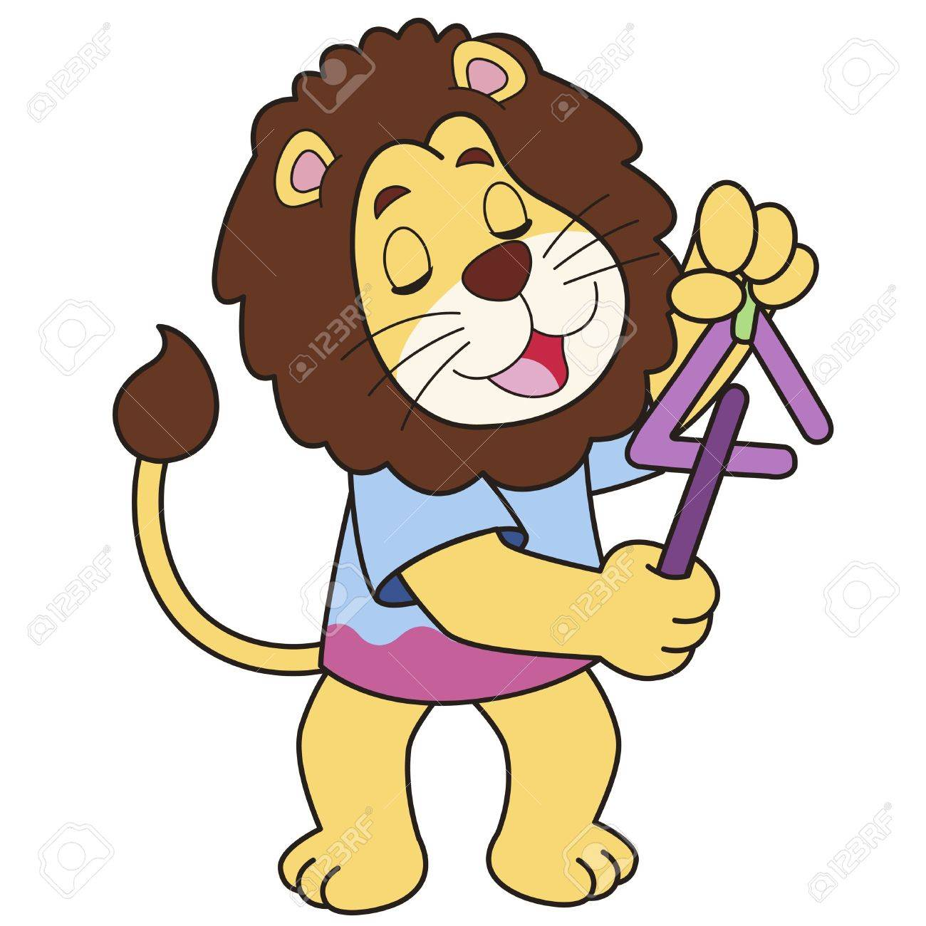 Cartoon lion playing a triangle Stock Vector - 18526761