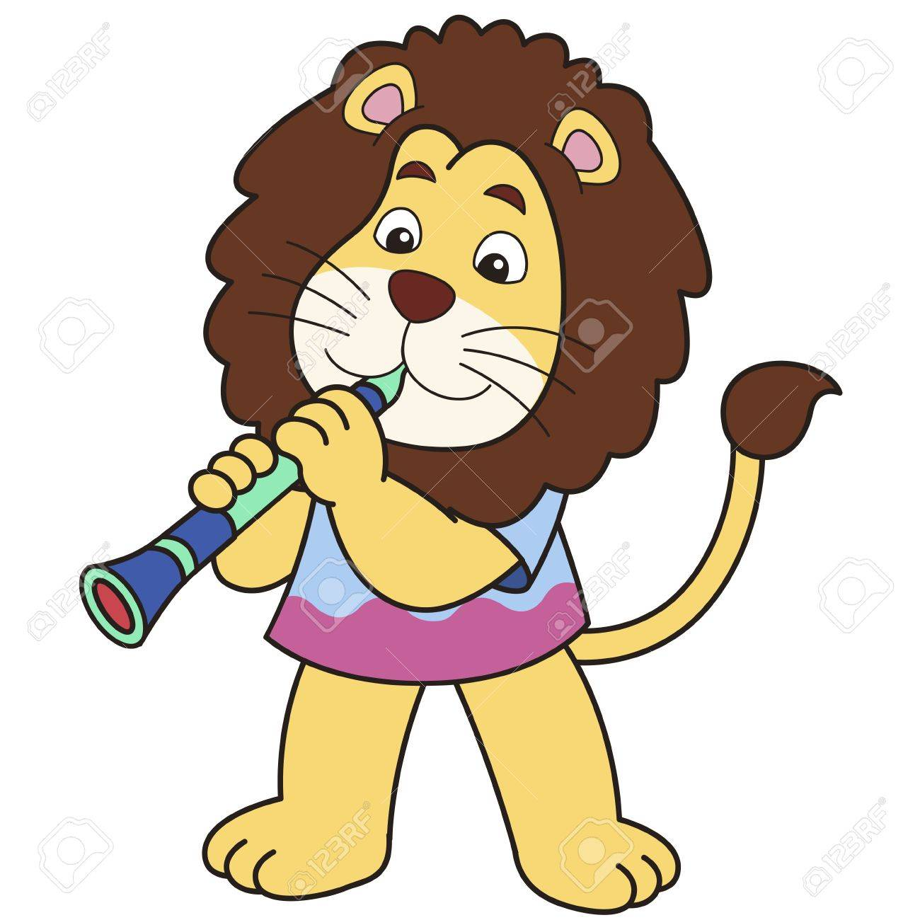 Cartoon lion playing a clarinet Stock Vector - 18526719