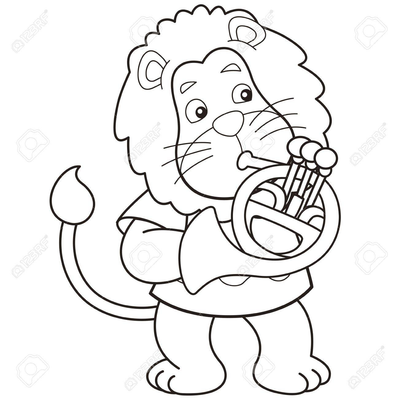 Cartoon lion playing a French horn black and white Stock Vector - 18526771