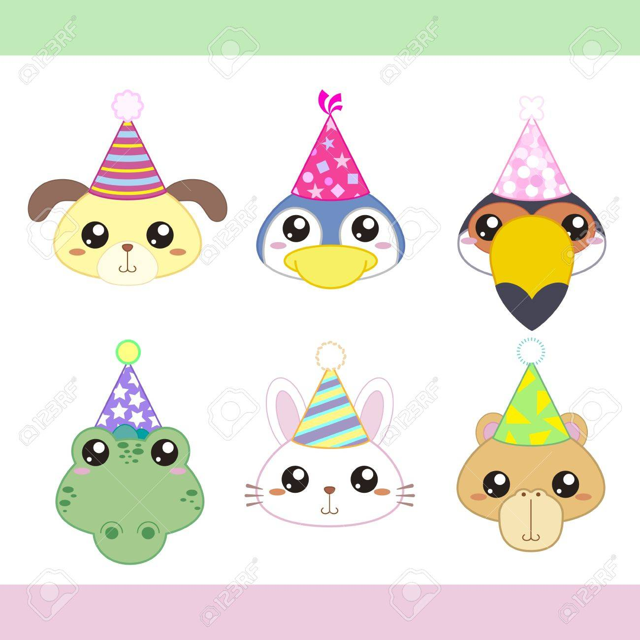 cartoon party animal icons collection Stock Vector - 18570448
