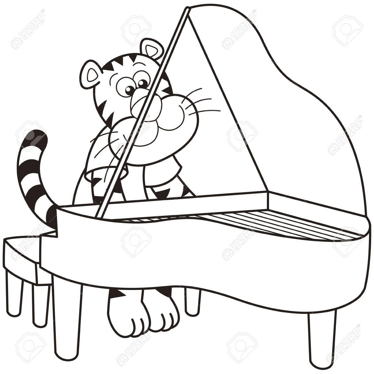 cartoon tiger playing a piano royalty free cliparts vectors and