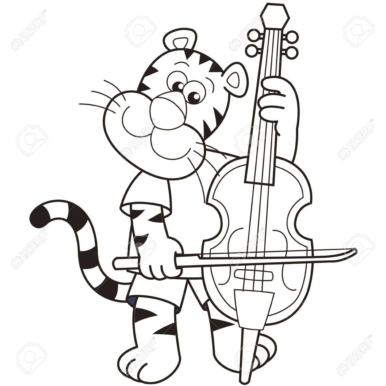 cartoon tiger playing a cello royalty free cliparts vectors and