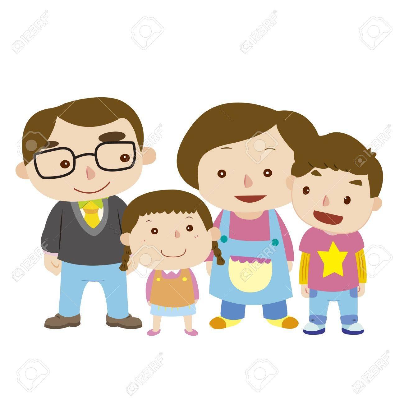 白ベクトルでかわいい家族のイラストのイラスト素材ベクタ Image