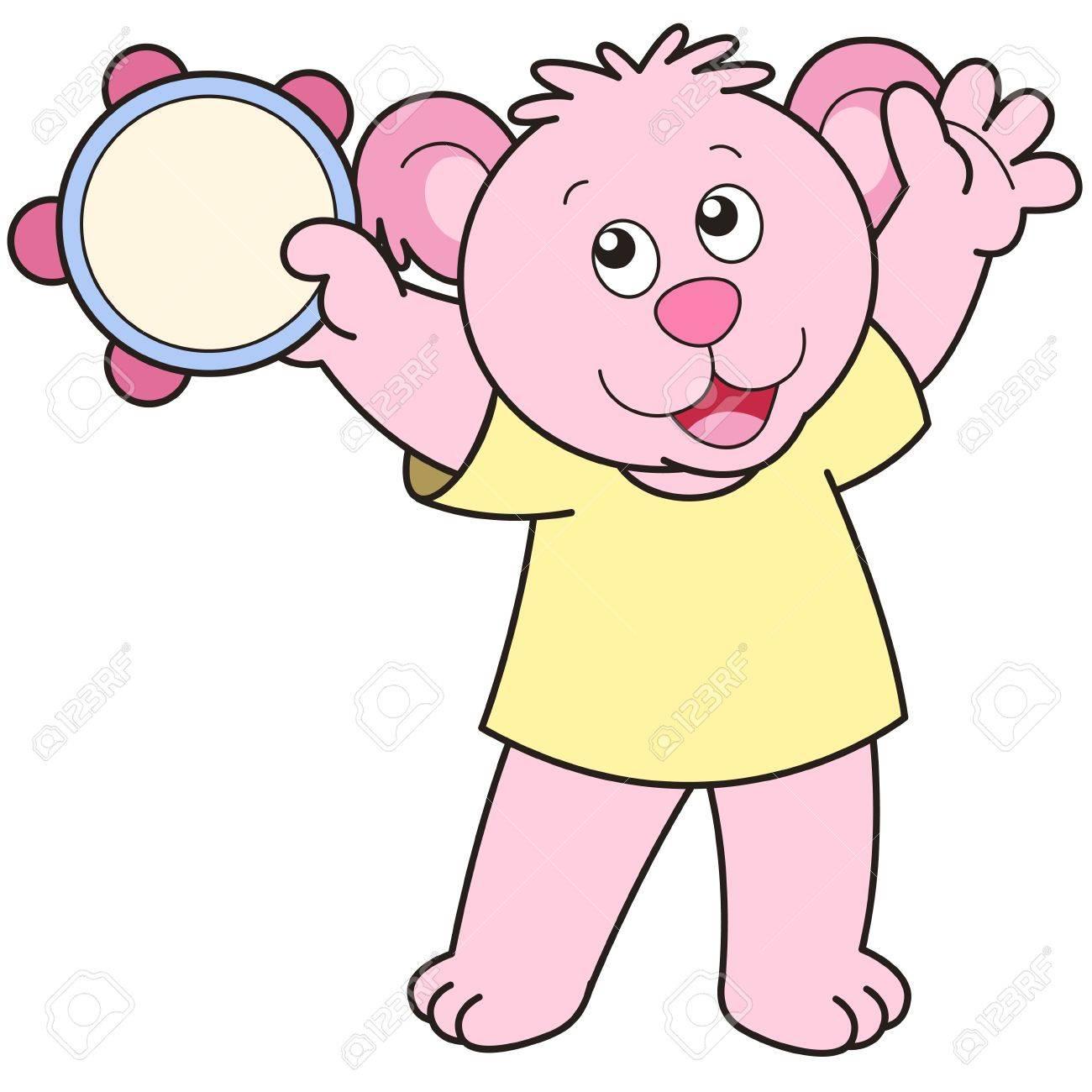 Cartoon Bear playing a tambourine. Stock Vector - 18589074