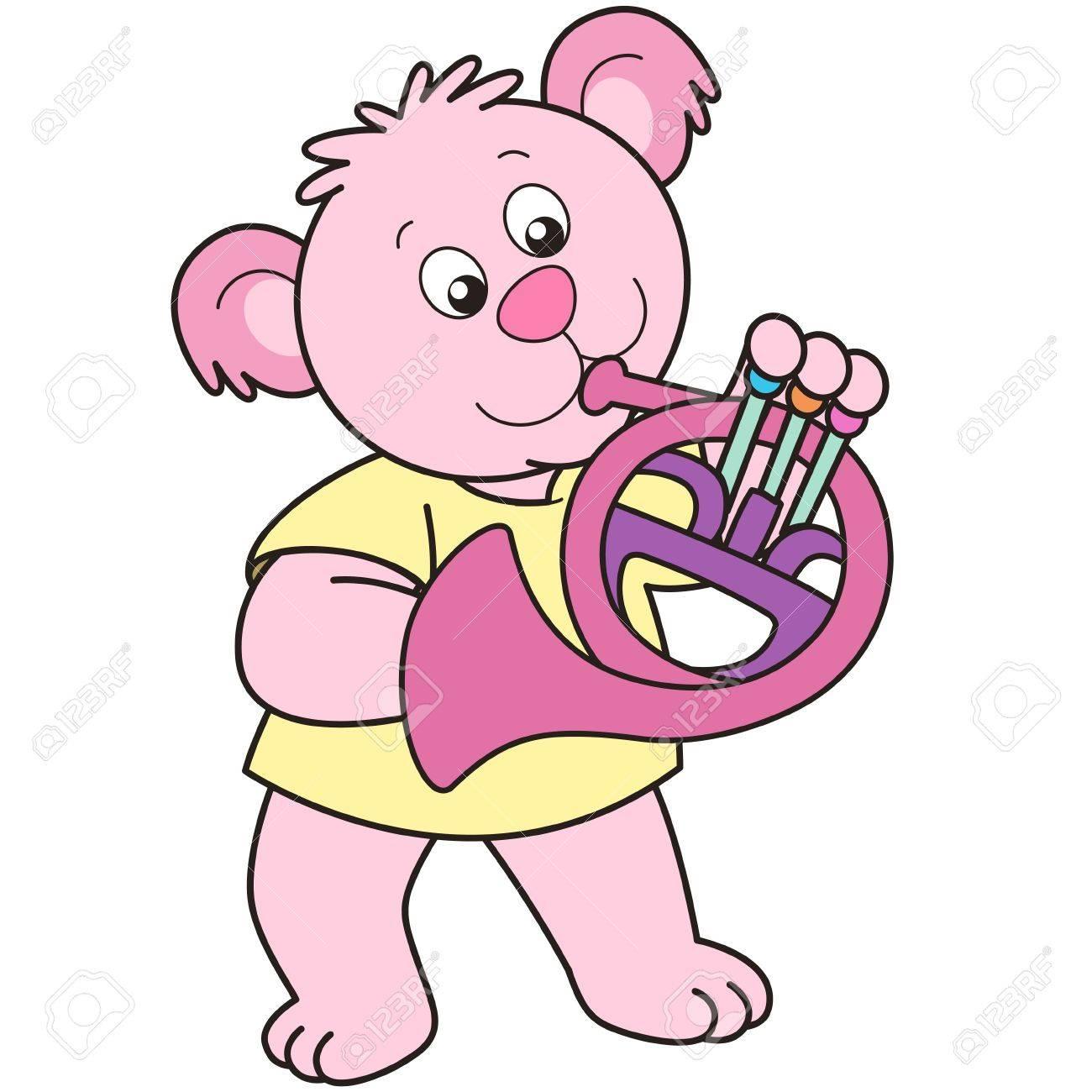 Cartoon Bear playing a French horn. Stock Vector - 18589291