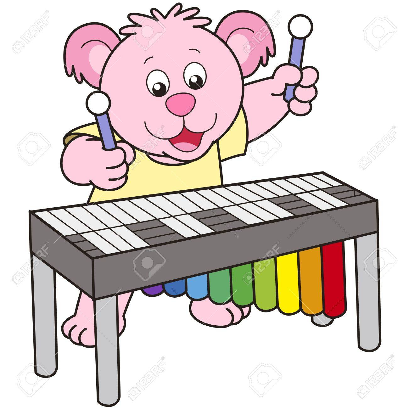 Cartoon Bear playing a vibraphone. Stock Vector - 18589342