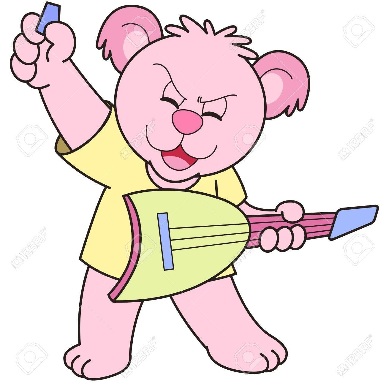Cartoon Bear playing an electric guitar. Stock Vector - 18589288