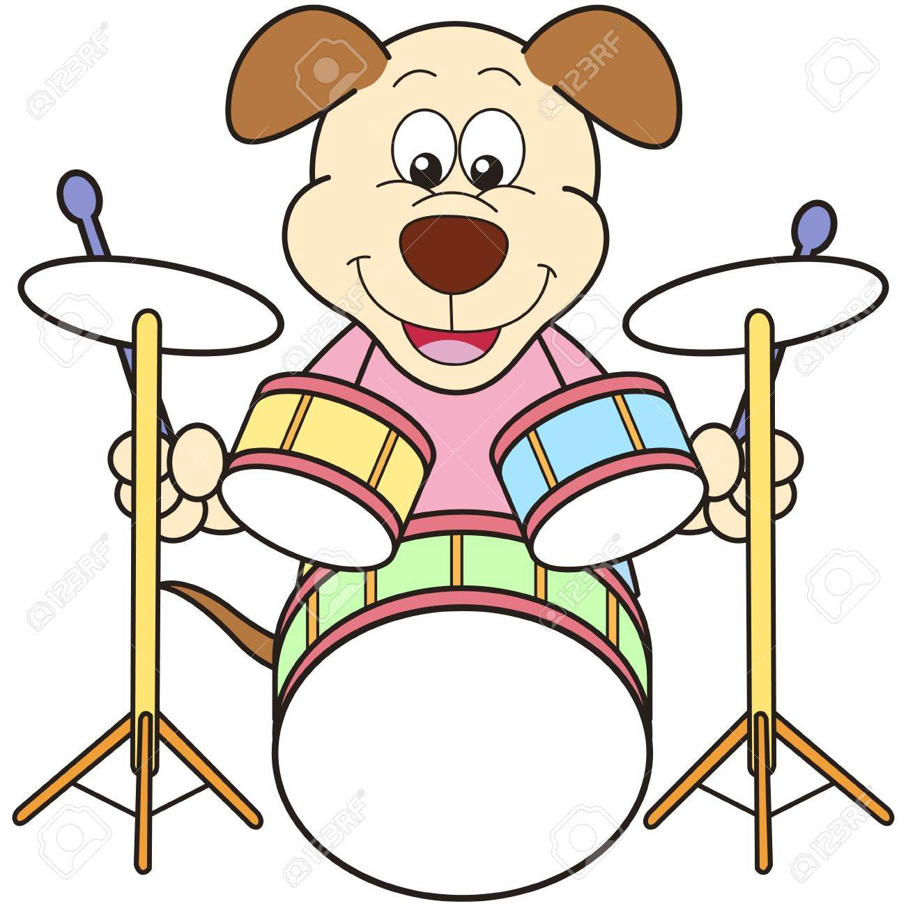 Cartoon Dog Playing Drums Royalty Free Cliparts Vectors And Stock Illustration Image 18589283
