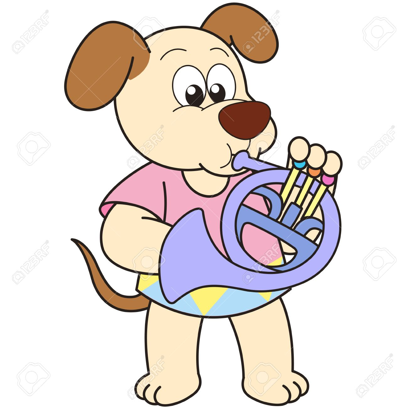 cartoon dog playing a french horn stock vector 18589328