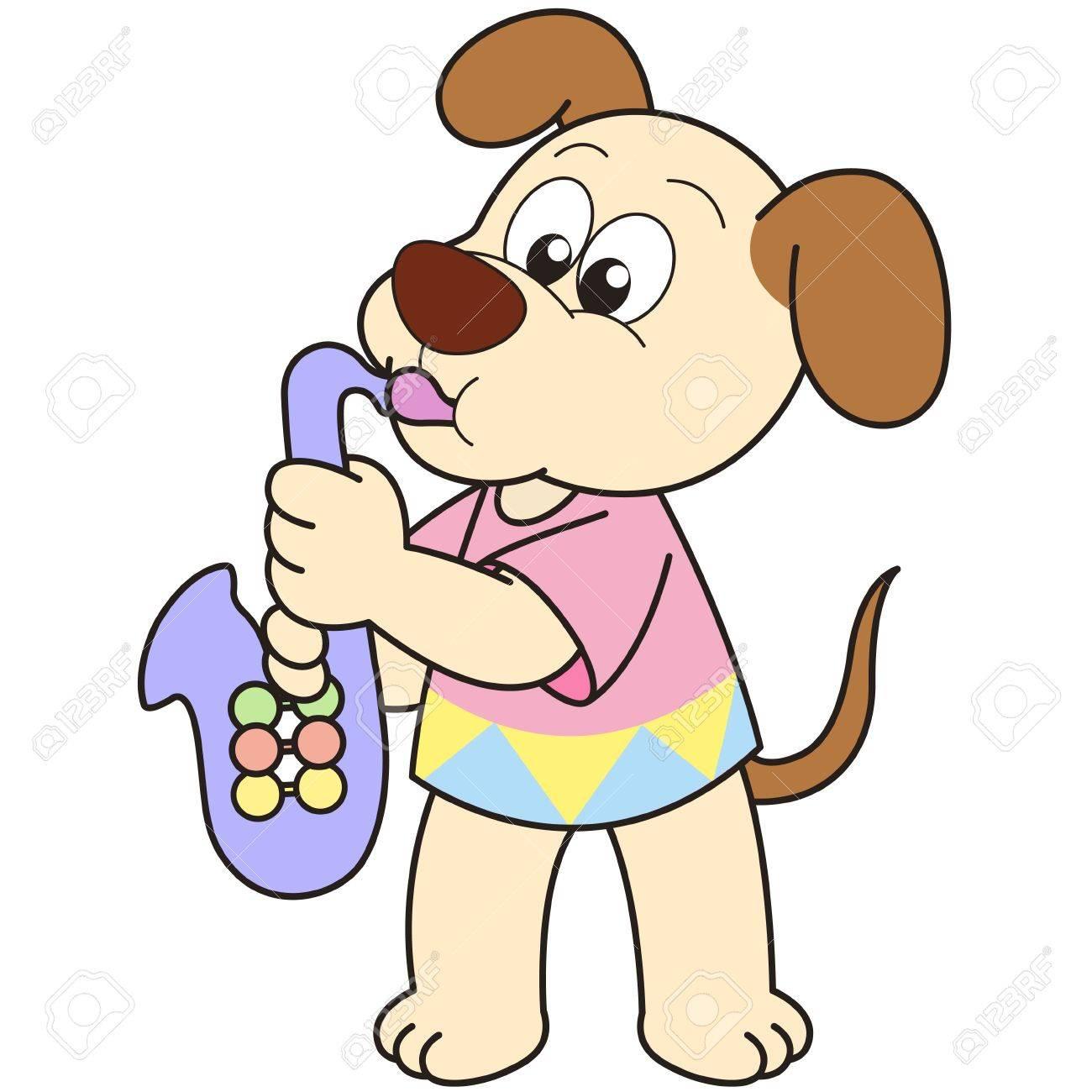 cartoon dog playing a saxophone stock vector 18589281