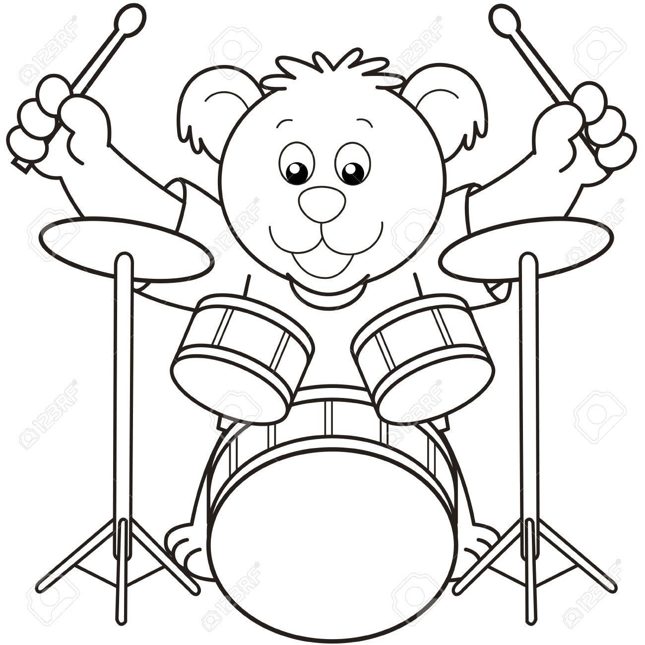 Coloring pictures drums - Cartoon Bear Playing Drums Black And White Stock Vector 18630065