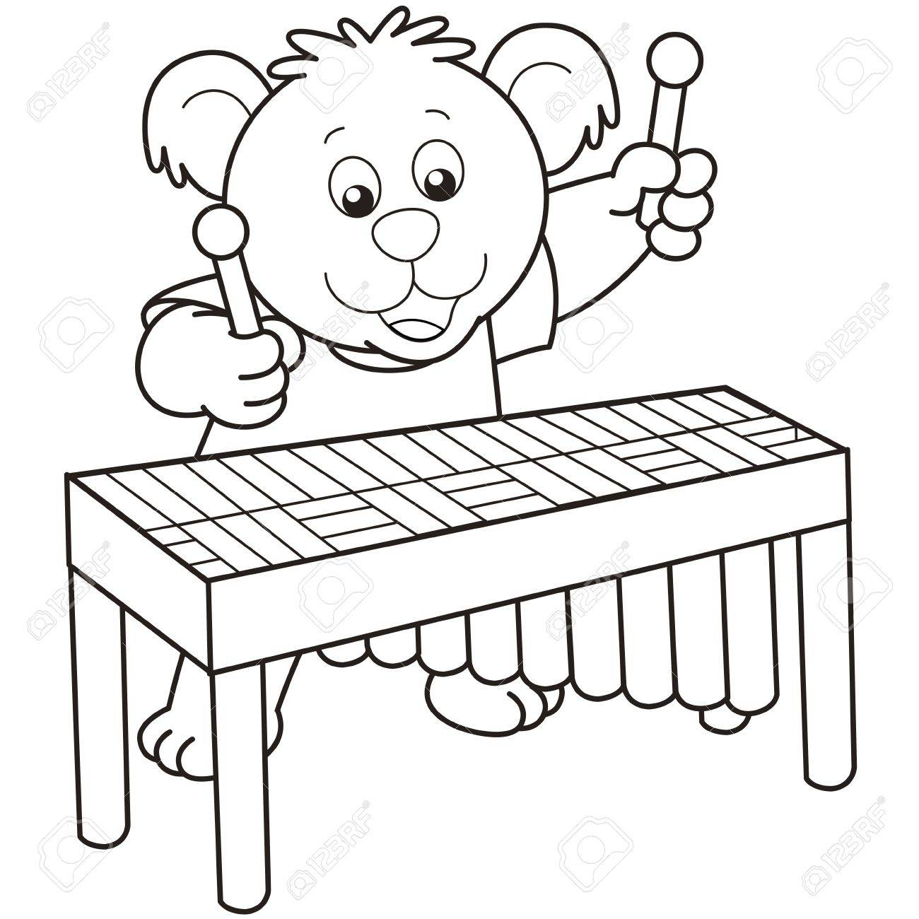 Cartoon Bear playing a vibraphone.black and white Stock Vector - 18630060