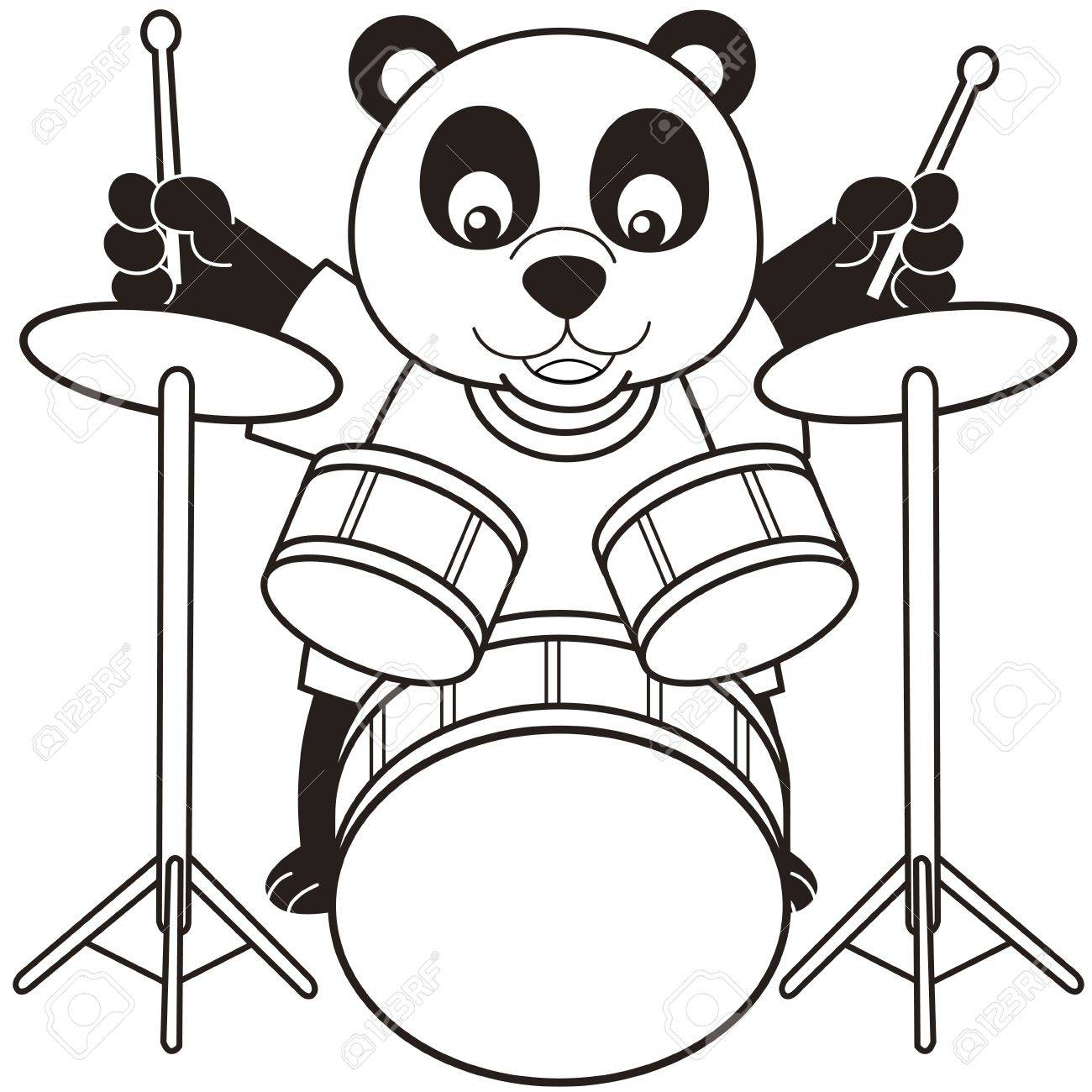 Coloring pictures drums - Drummer Outline Cartoon Panda Playing Drums Black And White Illustration