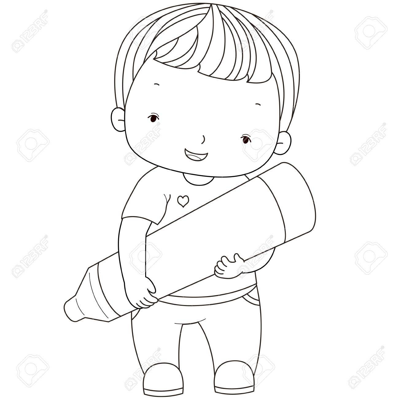 coloring illustration of a boy with crayon
