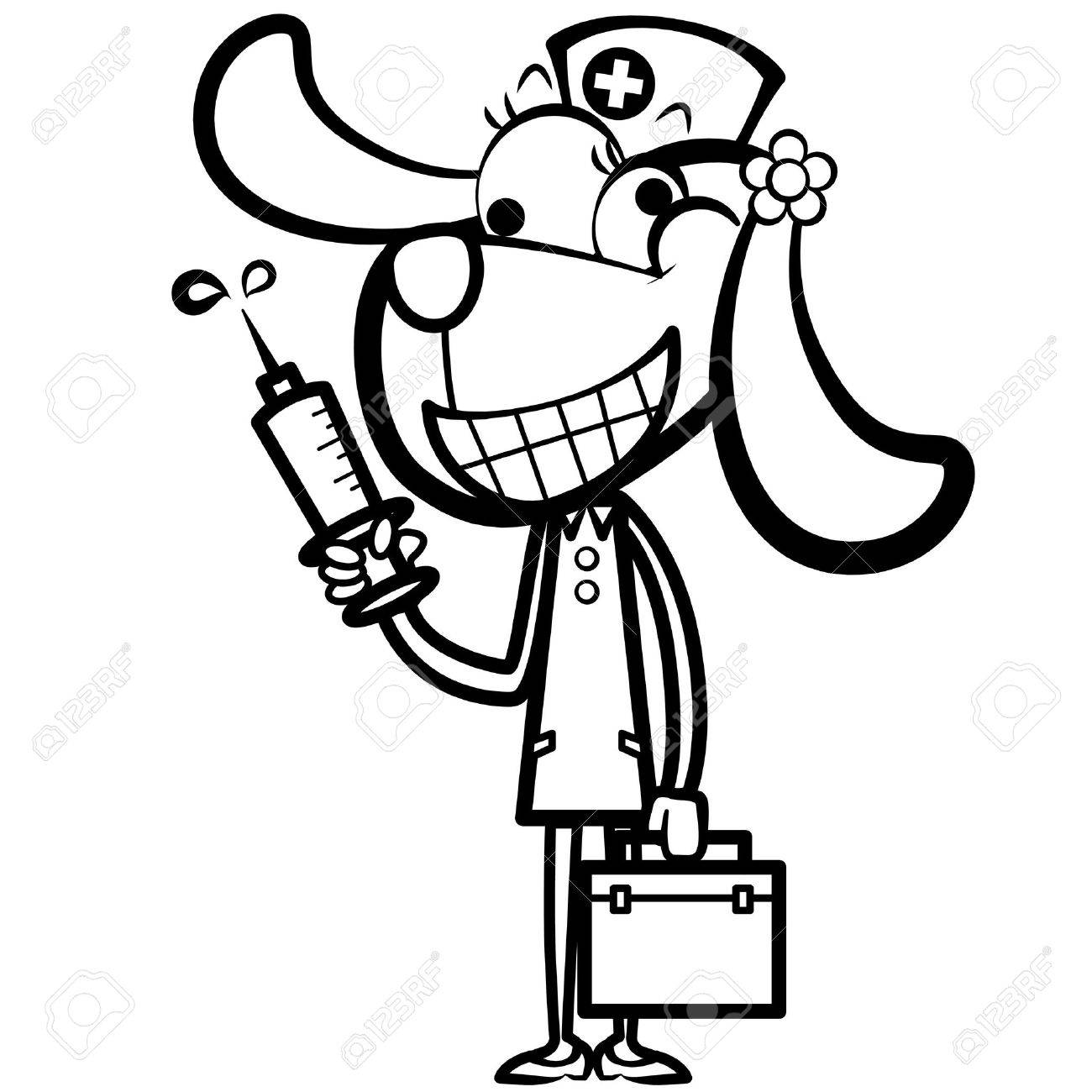 Coloring pages nurse - Vector Coloring Cartoon Dog Nurse With First Aid Kit And Syringe