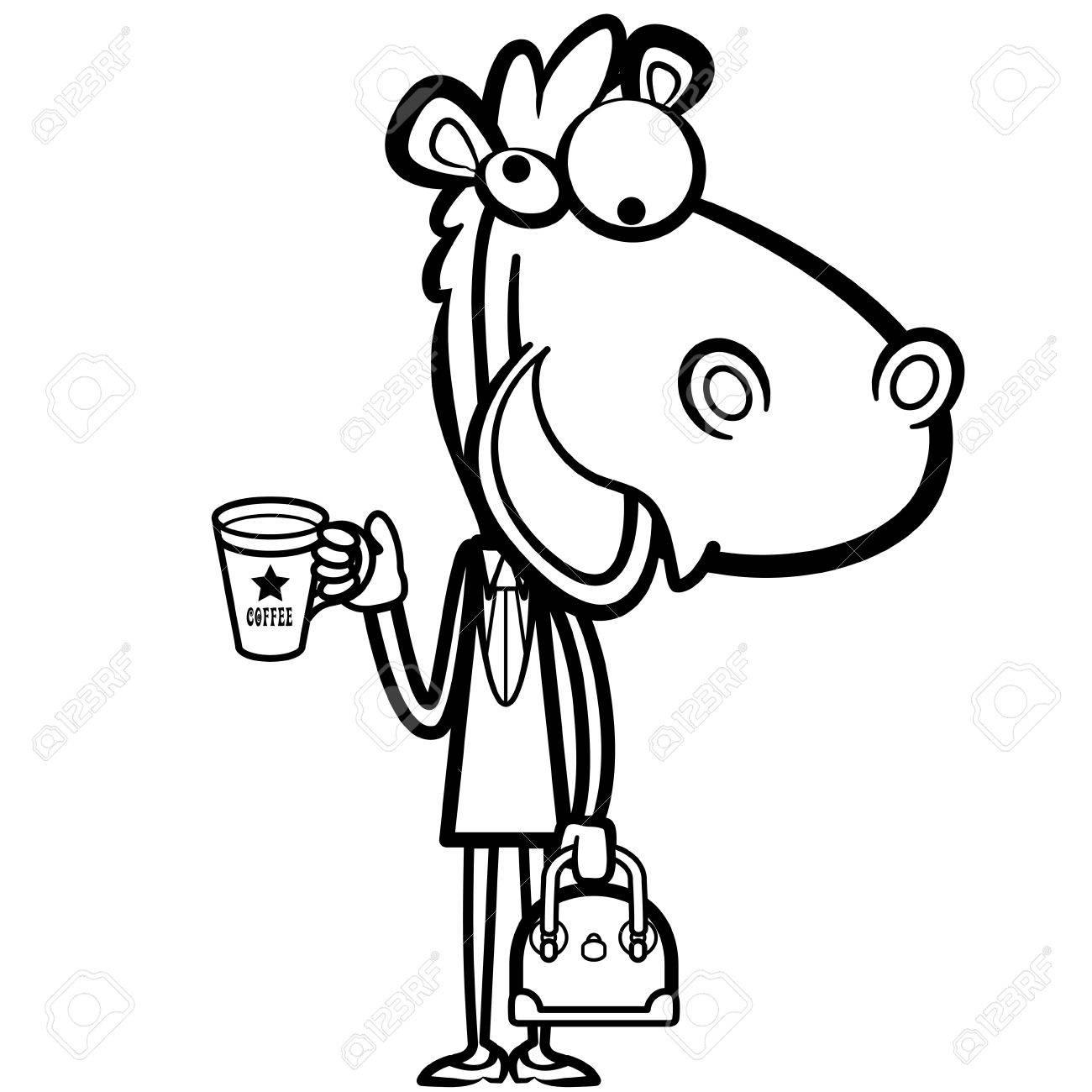 Colorear Caballo Oficina De Dibujos Animados Con Una Taza De Café Y ...
