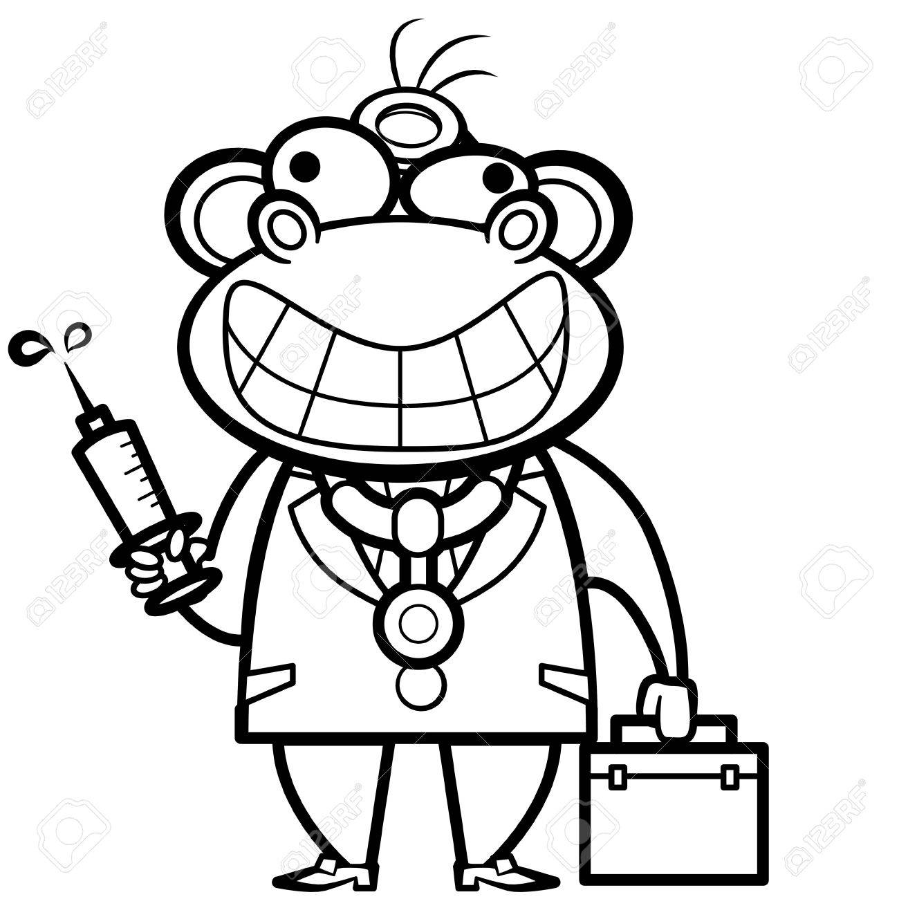 coloring cartoon monkey doctor with first aid kit and syringe