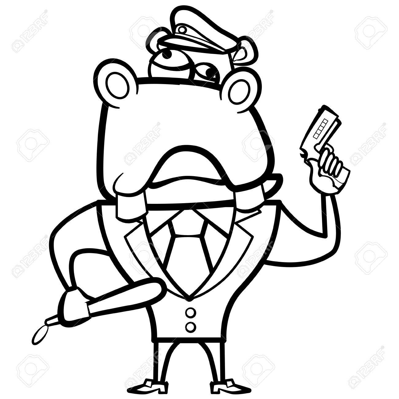 coloring cartoon hippo police officer with gun royalty free