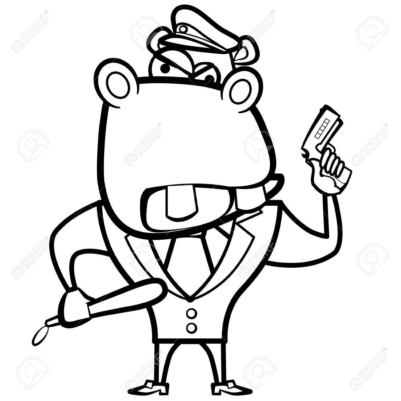 Coloriage Hippopotame De Bande Dessinée Policier Avec Un Pistolet